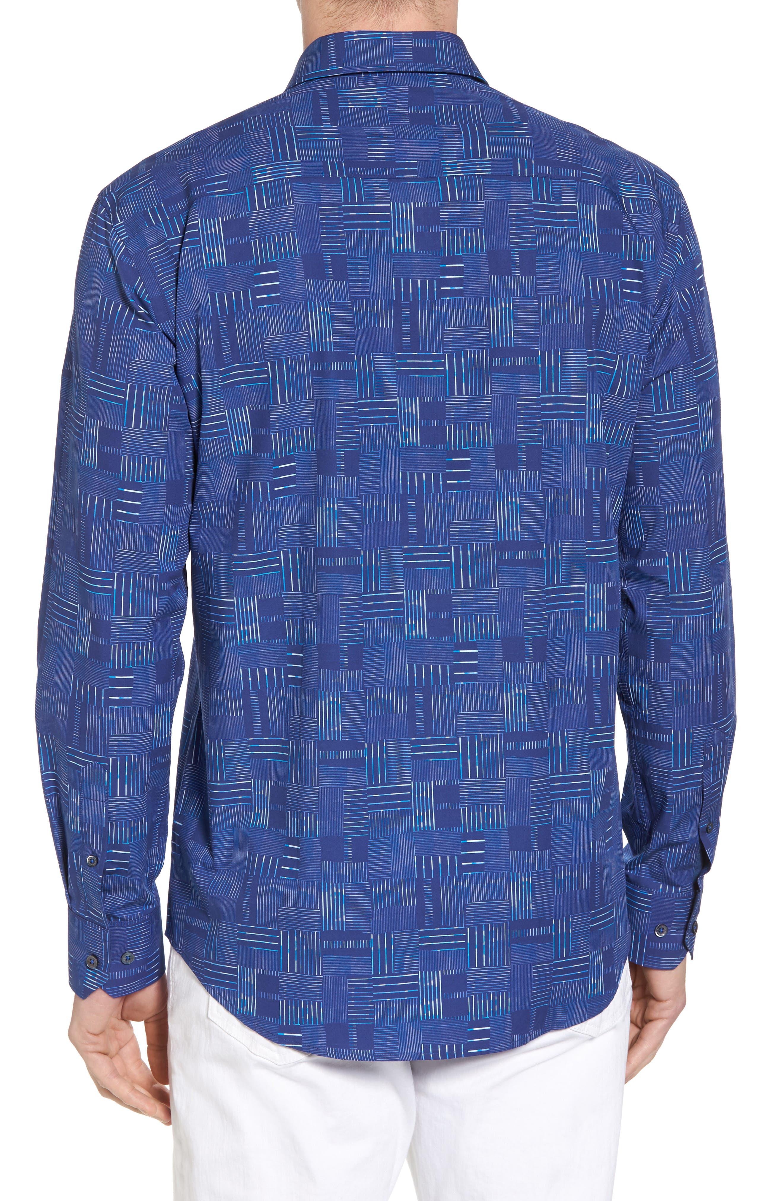 Shaped Fit Patchwork Plaid Sport Shirt,                             Alternate thumbnail 3, color,                             Classic Blue
