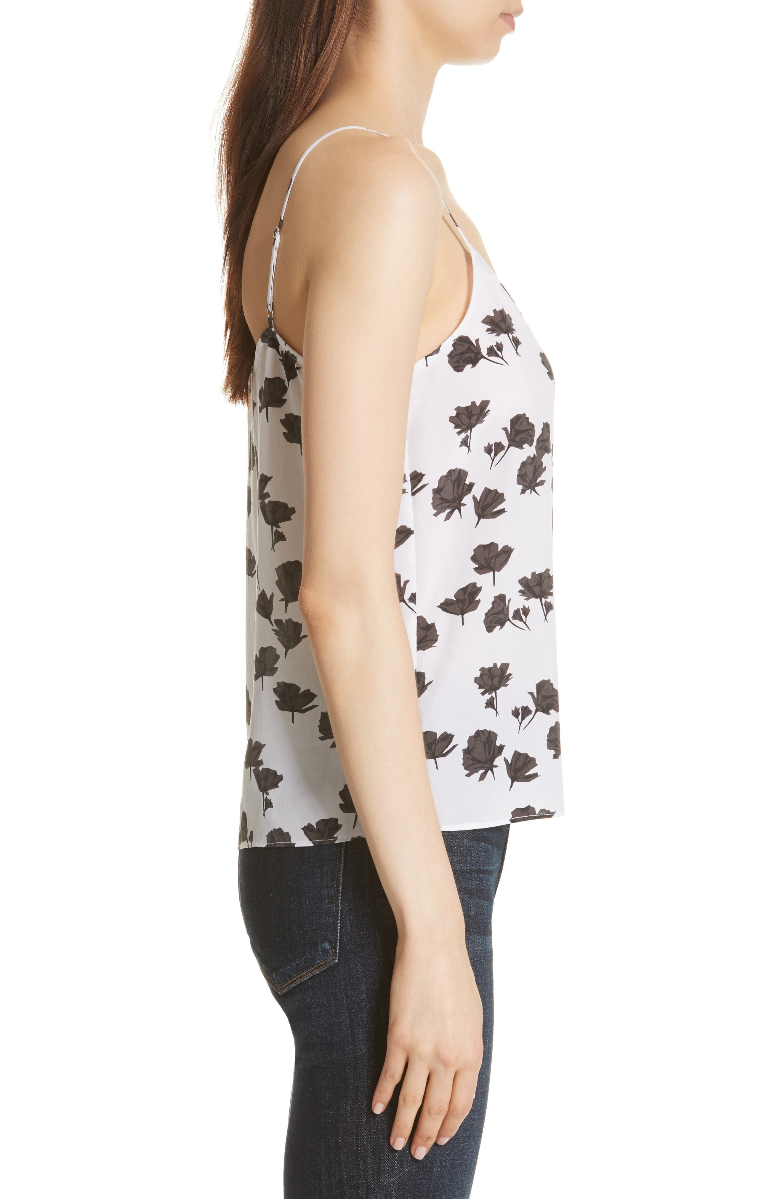 Layla Floral Print Silk Camisole,                             Alternate thumbnail 3, color,                             Bright White