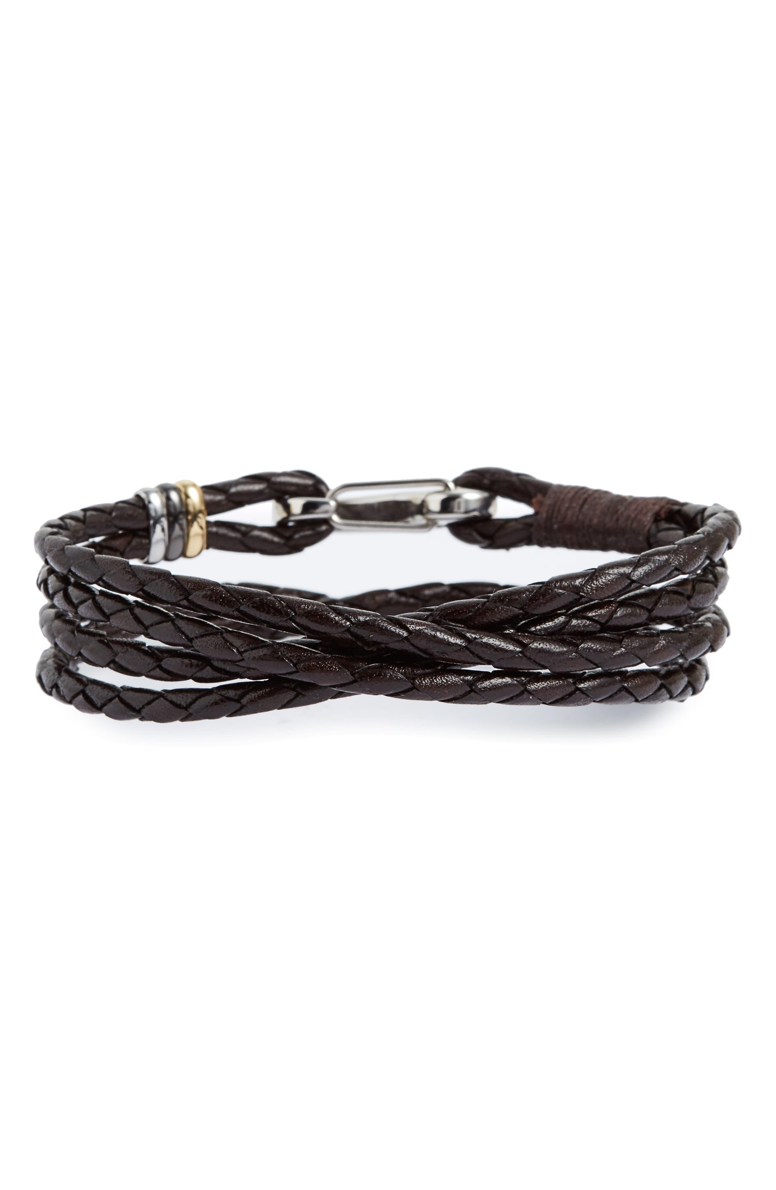 Braided Leather Wrap Bracelet,                             Main thumbnail 1, color,                             Chocolate