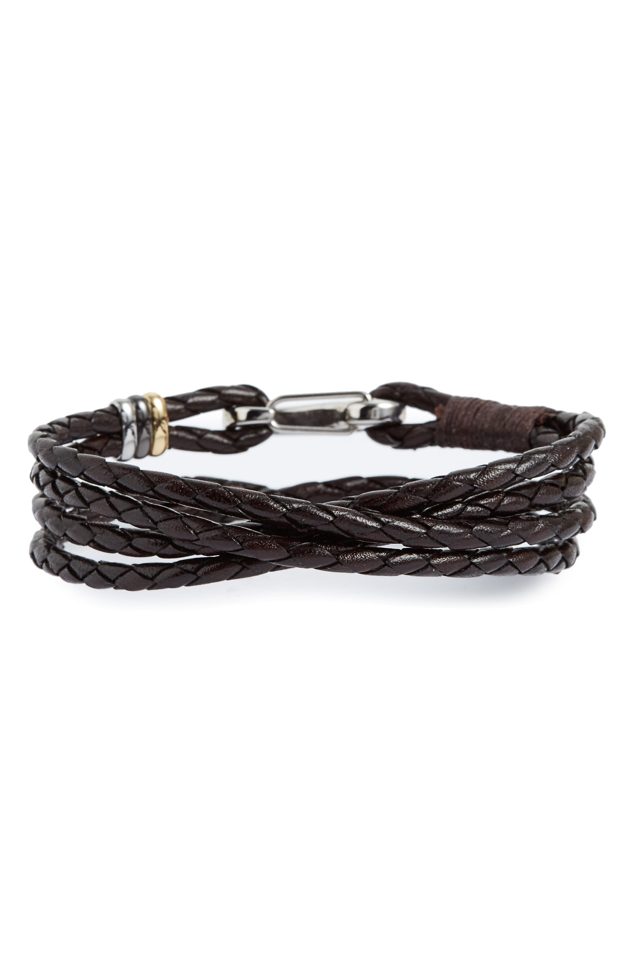 Braided Leather Wrap Bracelet,                         Main,                         color, Chocolate