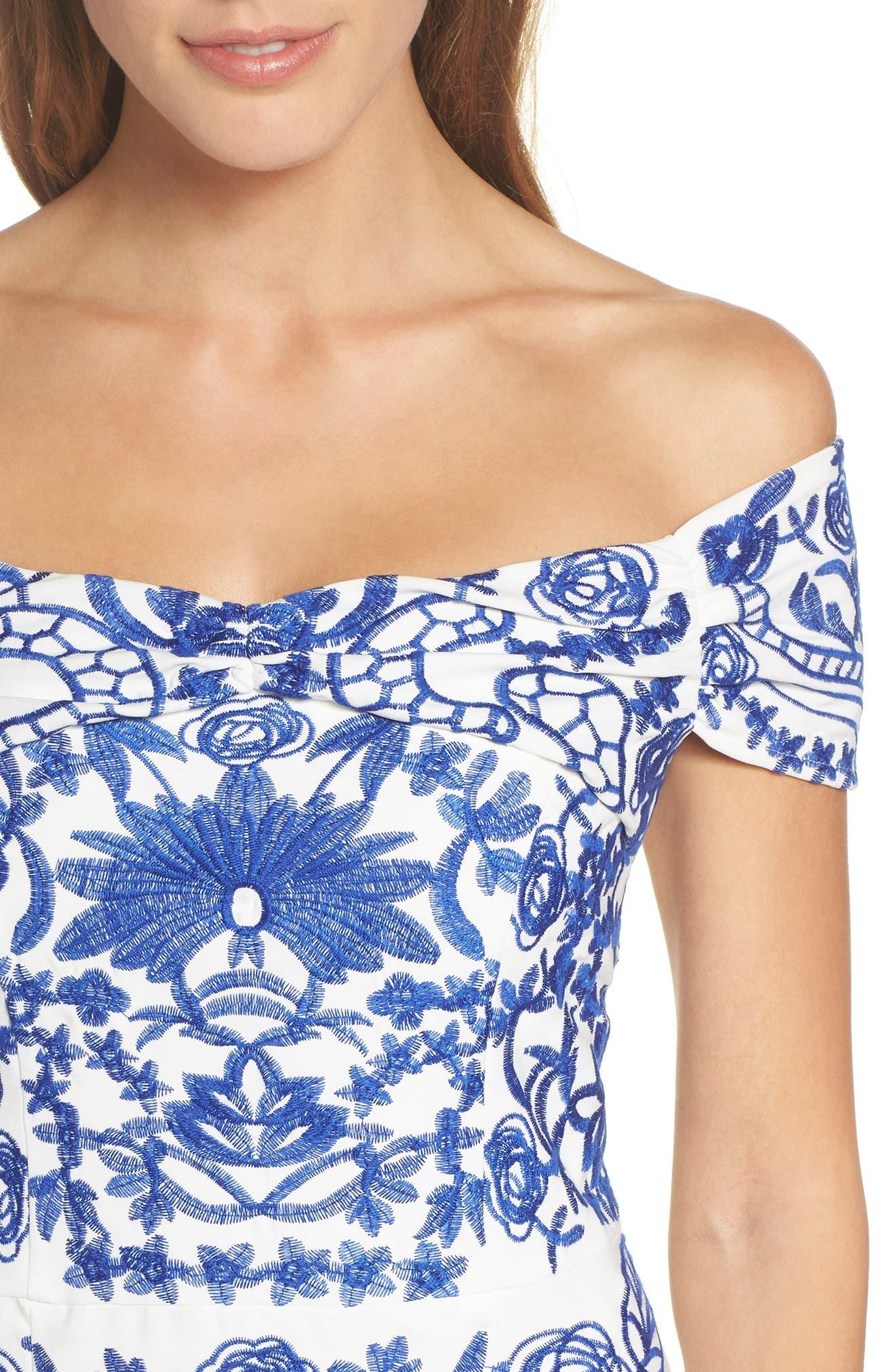 Betina Embroidered Off the Shoulder Dress,                             Alternate thumbnail 4, color,                             Cobalt