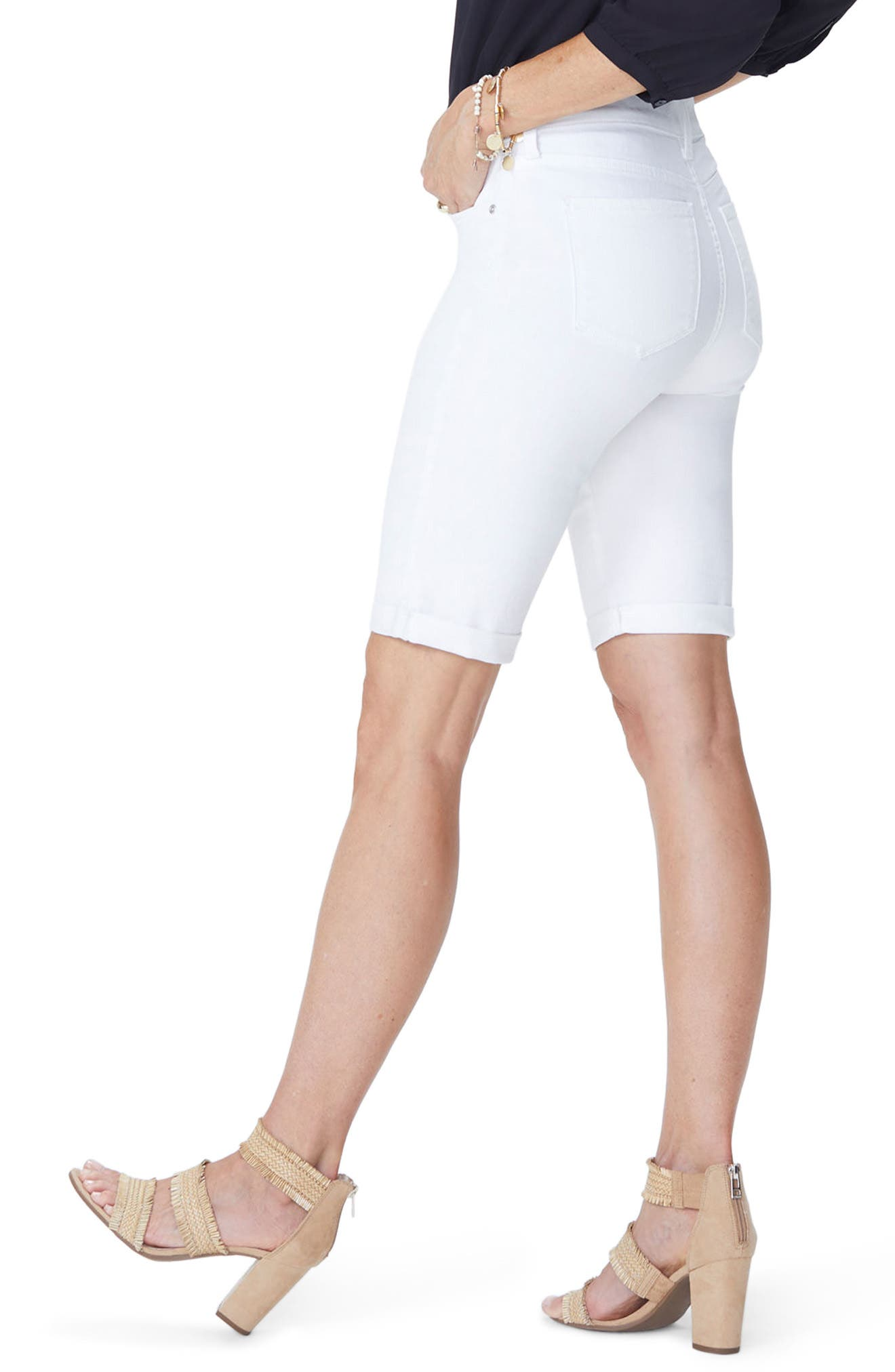 Briella Roll Cuff Bermuda Shorts,                             Alternate thumbnail 2, color,                             Optic White