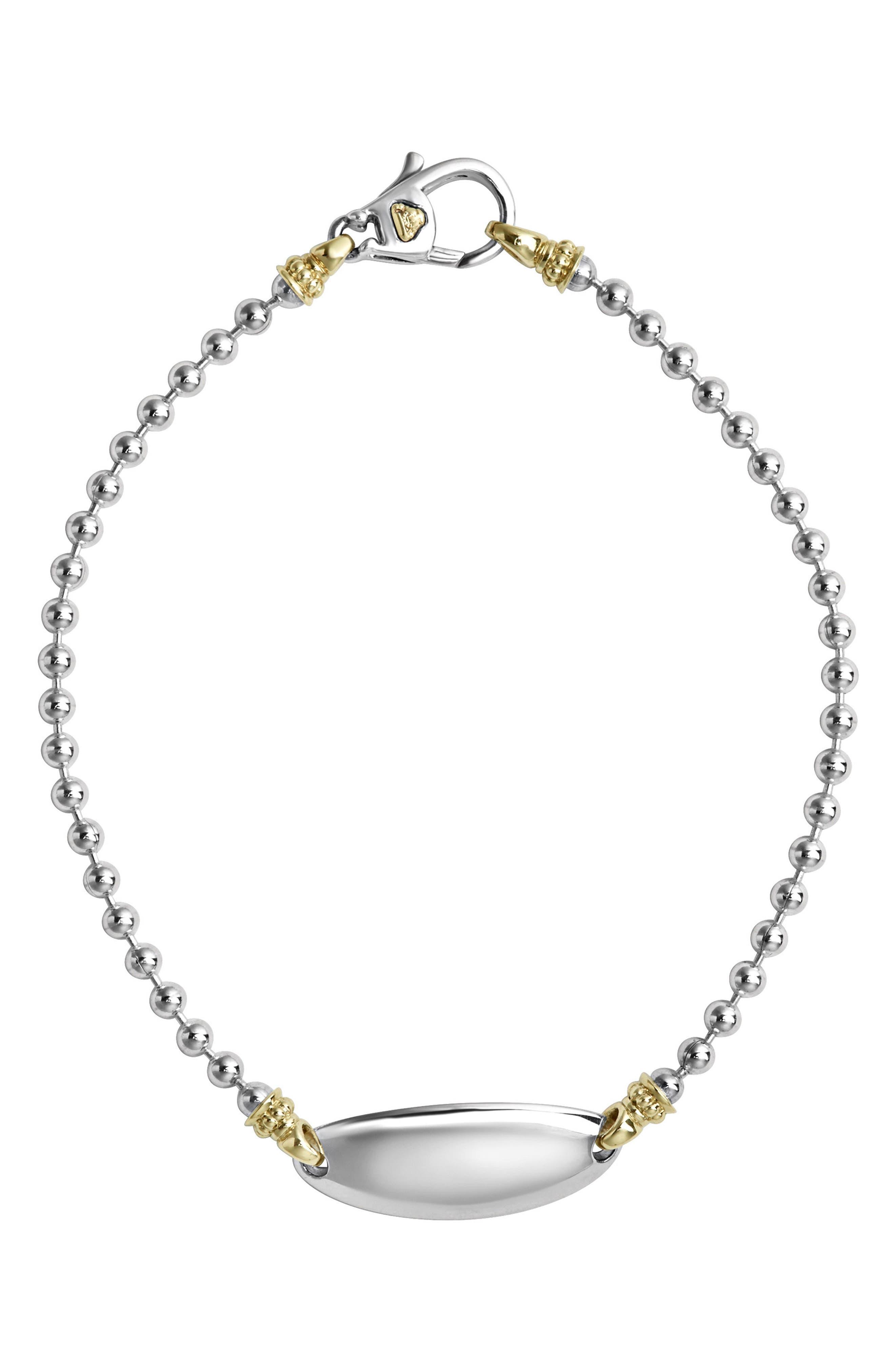 Beloved Oval Plate Bracelet,                         Main,                         color, Silver