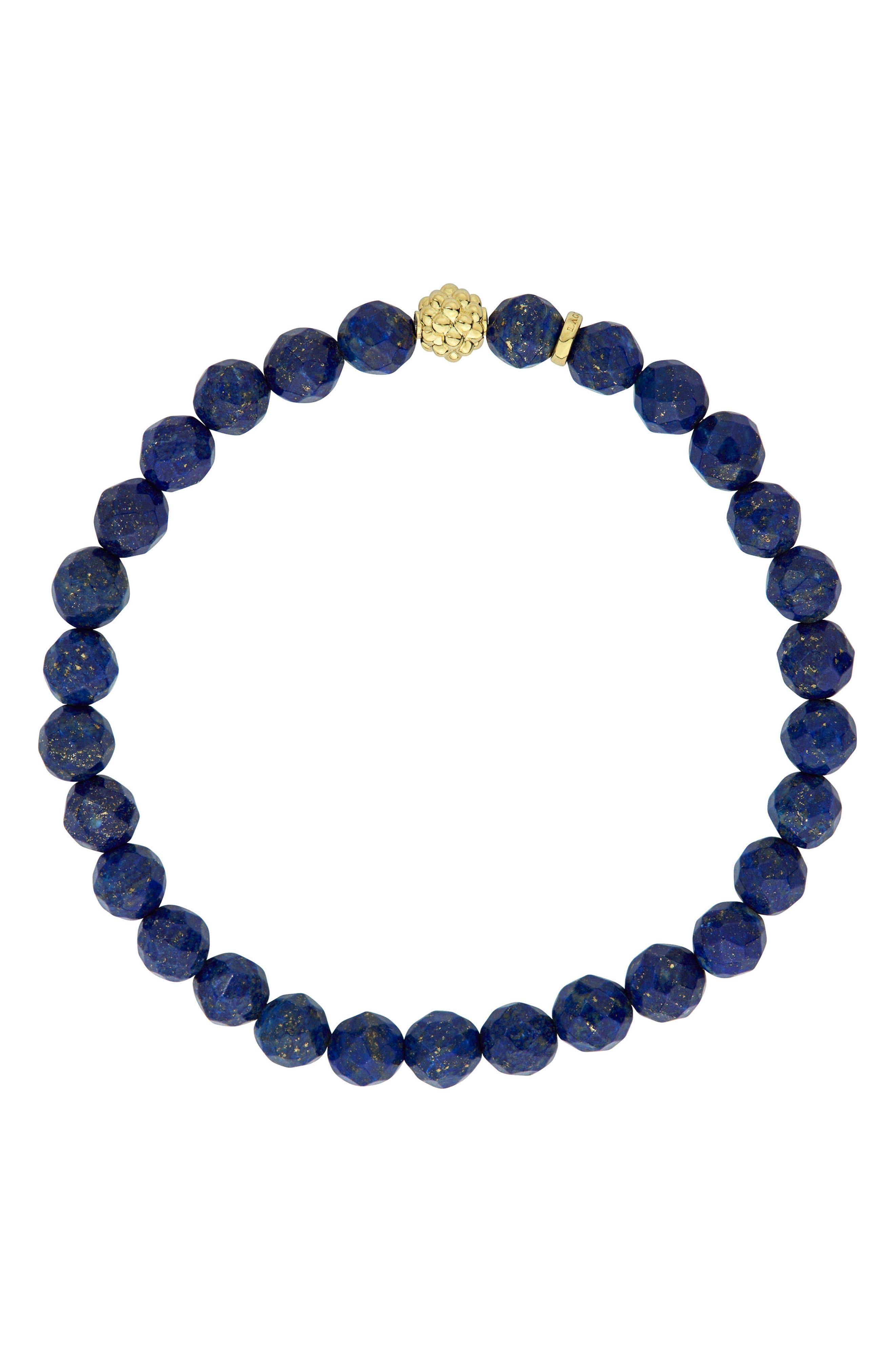Caviar Icon Stretch Bead Bracelet,                             Alternate thumbnail 2, color,                             Silver/ Lapis