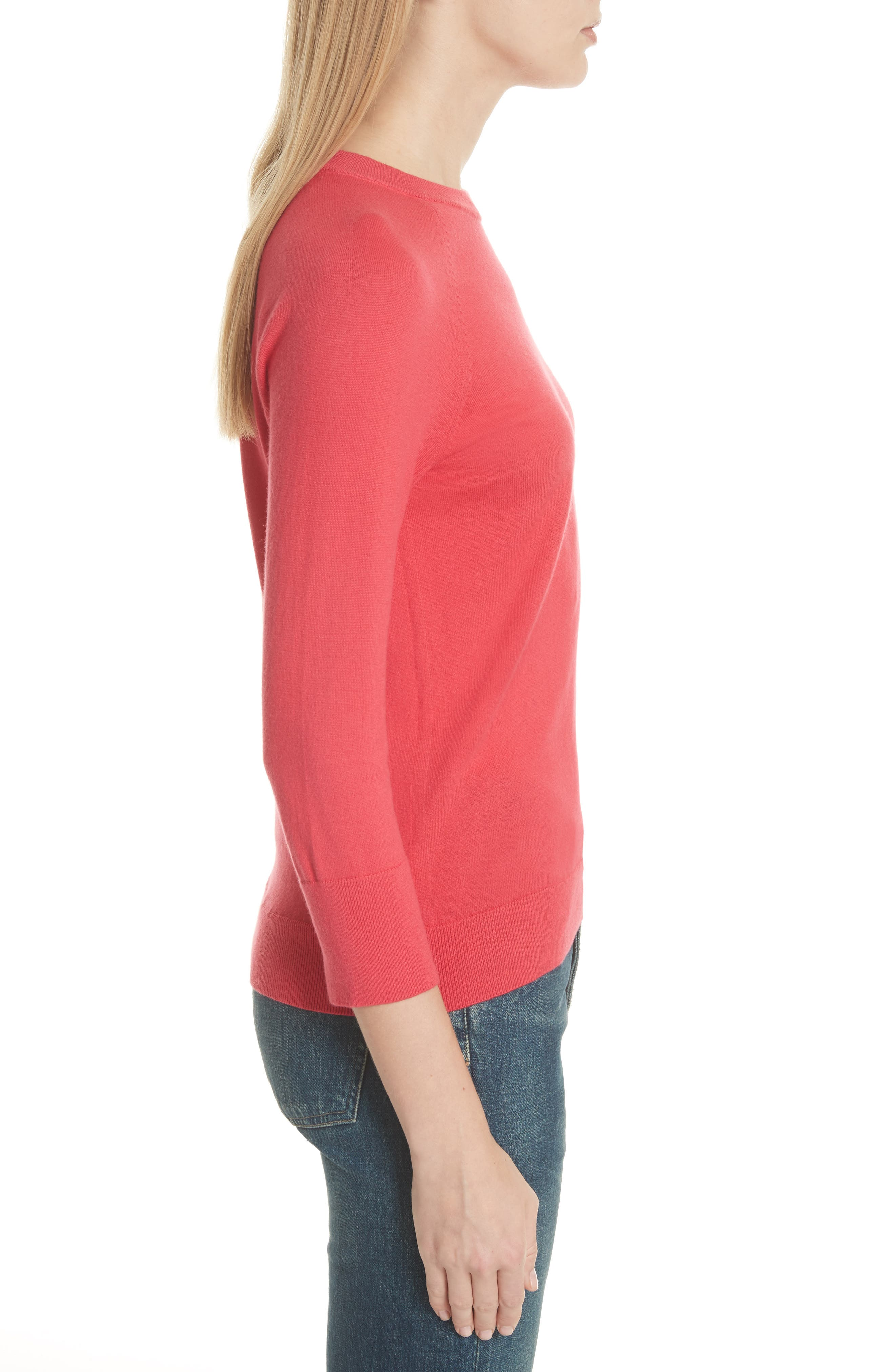 Cotton & Cashmere Sweater,                             Alternate thumbnail 3, color,                             Charged Pink