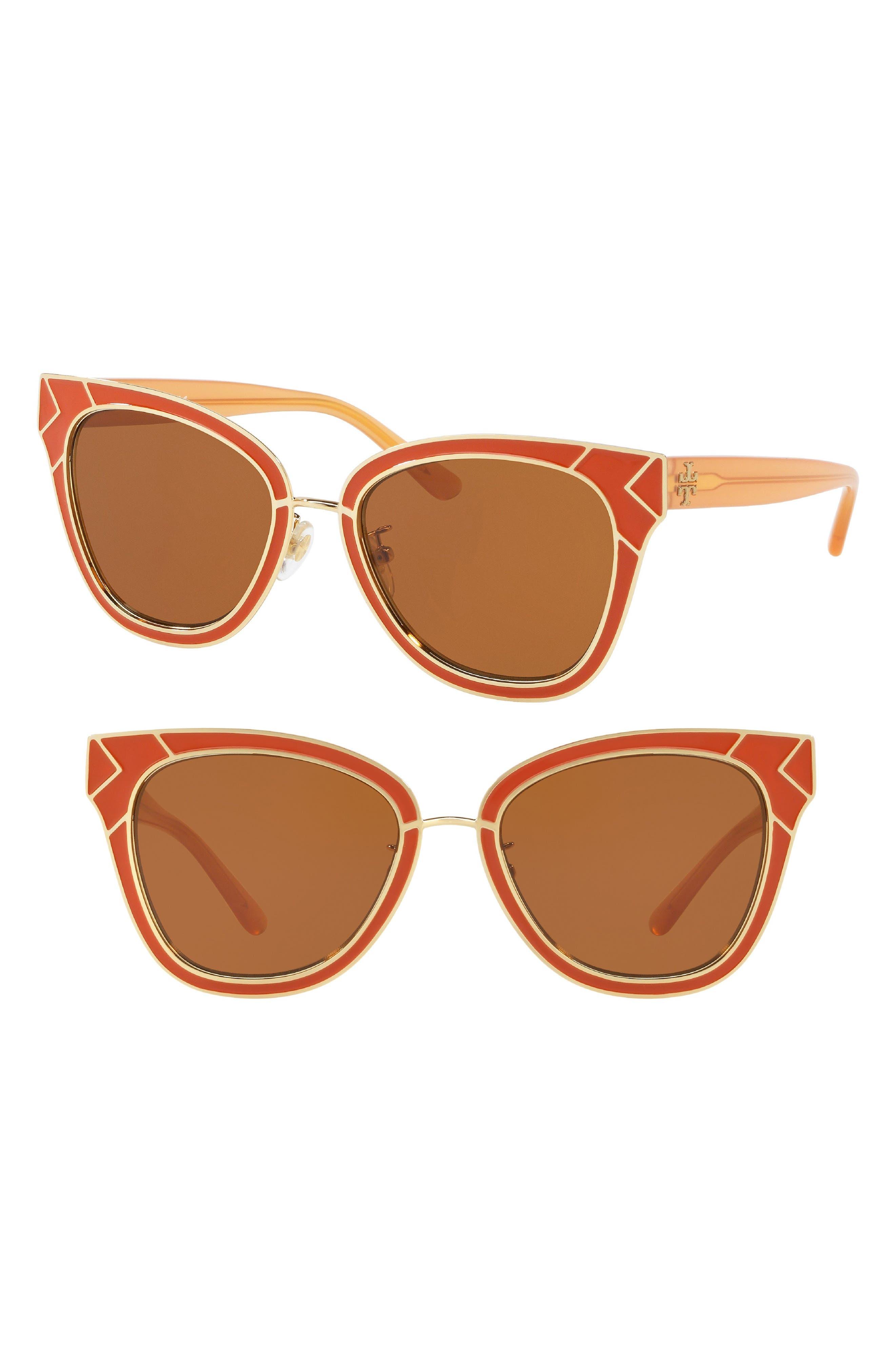 Enamel San Ray 53mm Sunglasses,                         Main,                         color, Gold/ Orange