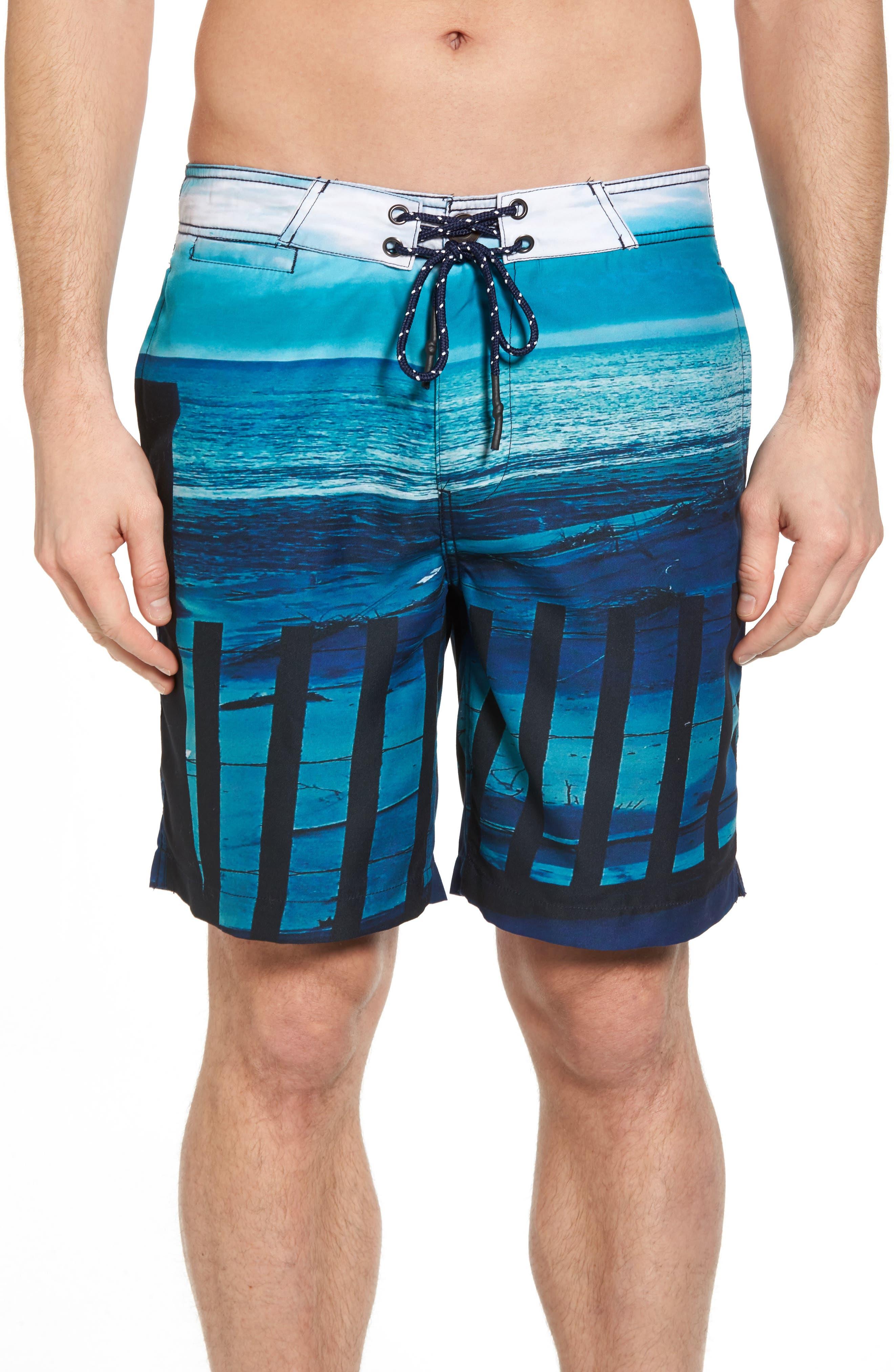 Beach Fence Photo Real Board Shorts,                             Main thumbnail 1, color,                             Beach