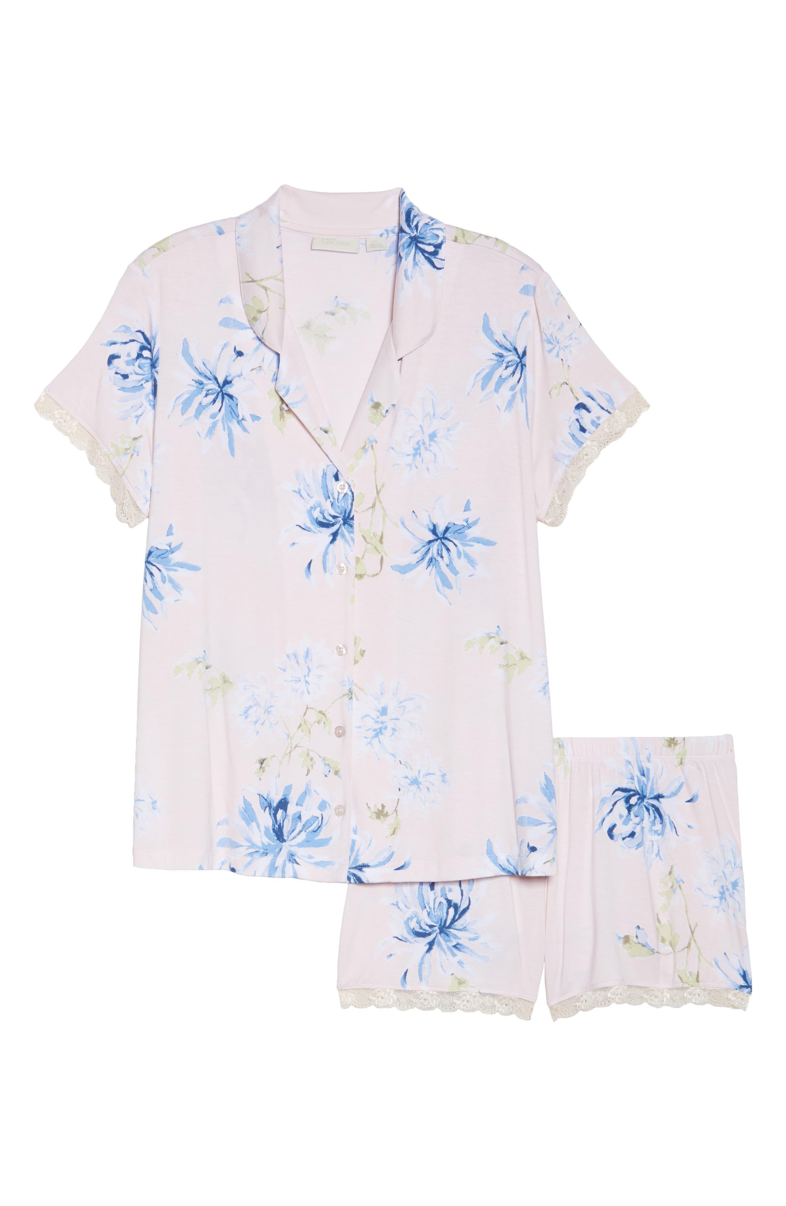 Moonlight Short Pajamas,                             Alternate thumbnail 4, color,                             Pink Frosty Spring Dream