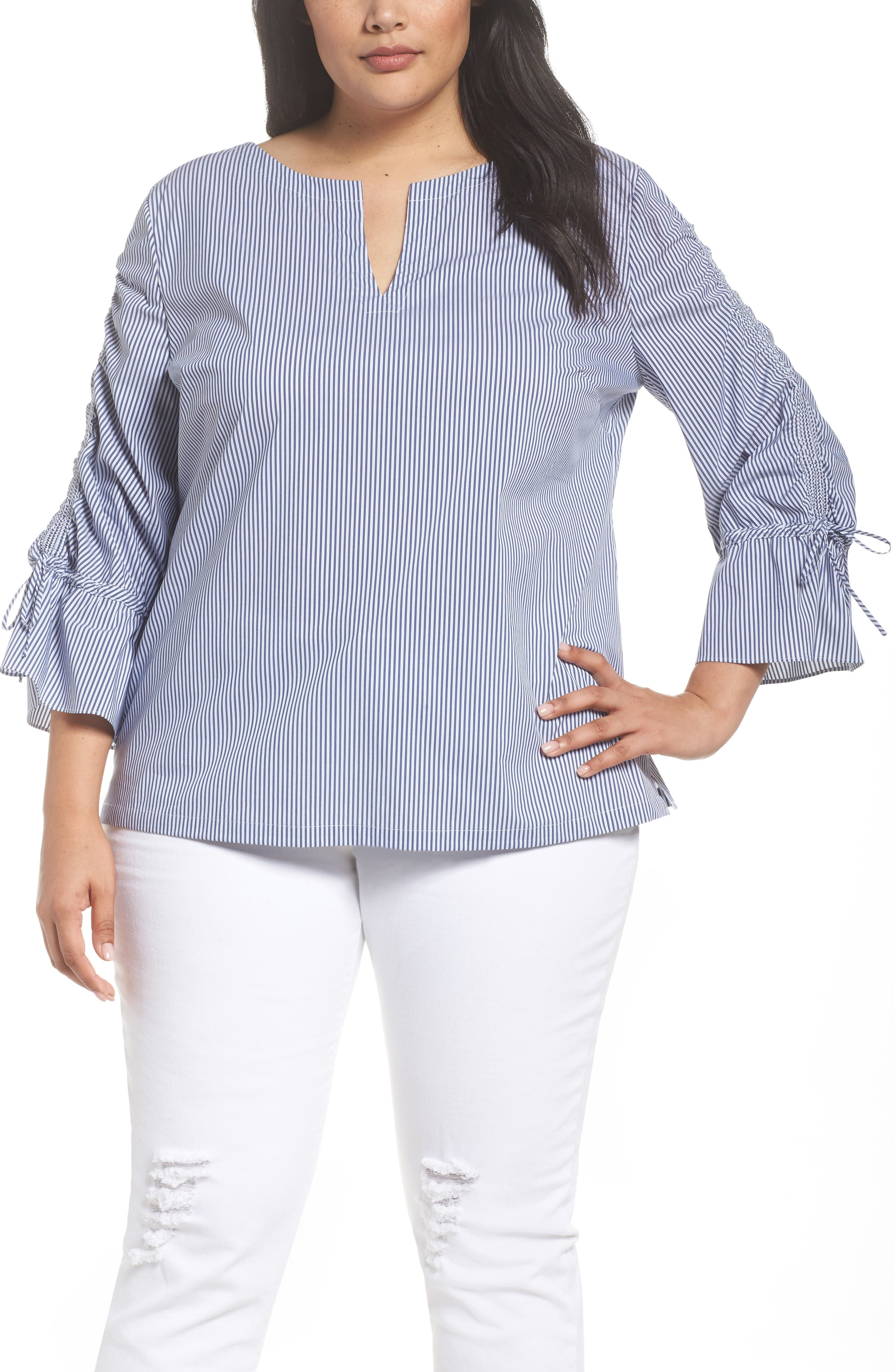 Flare Sleeve Poplin Top,                         Main,                         color, Gingham Combo