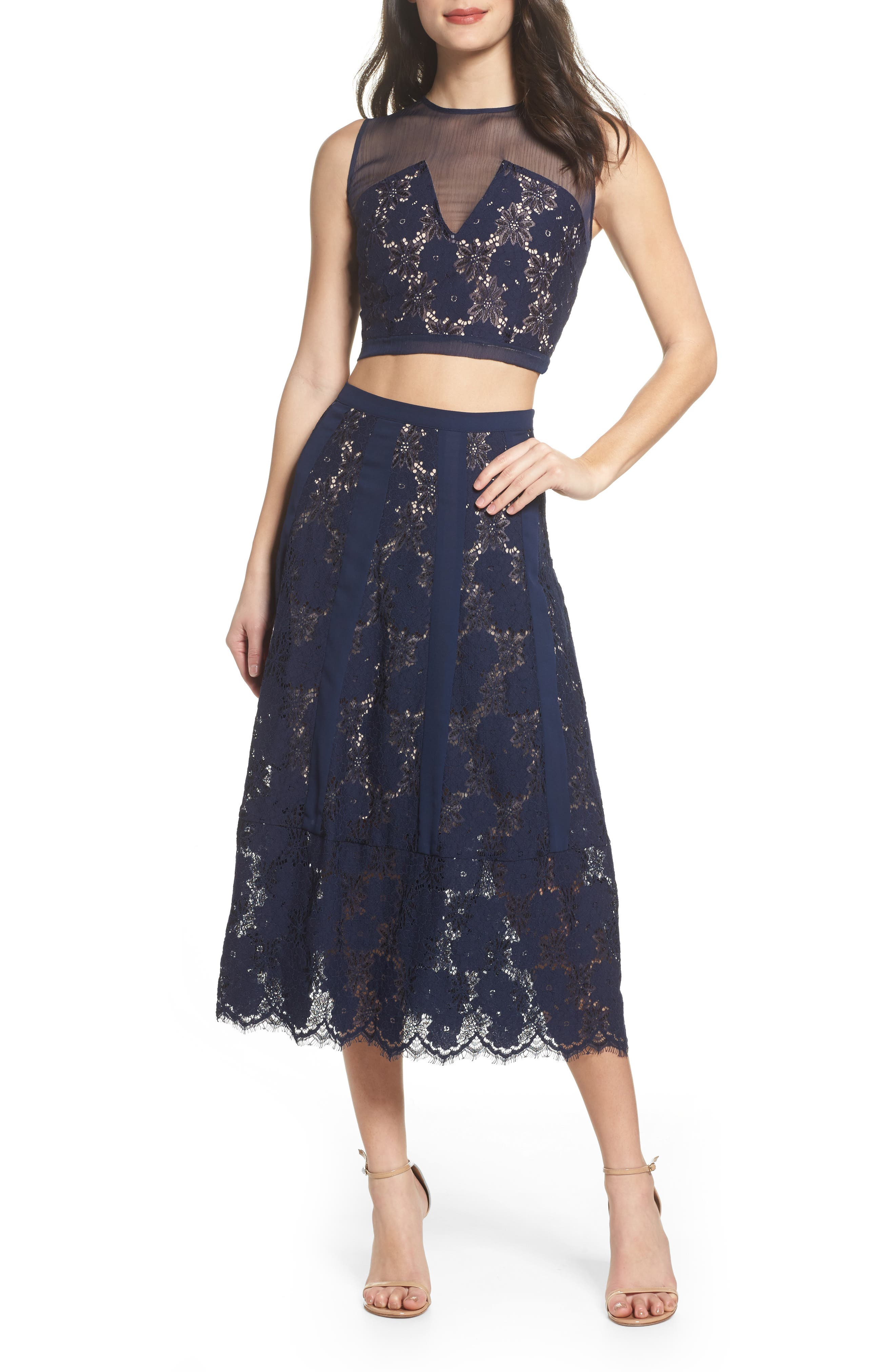 Atiqah Two-Piece Dress,                         Main,                         color, Navy