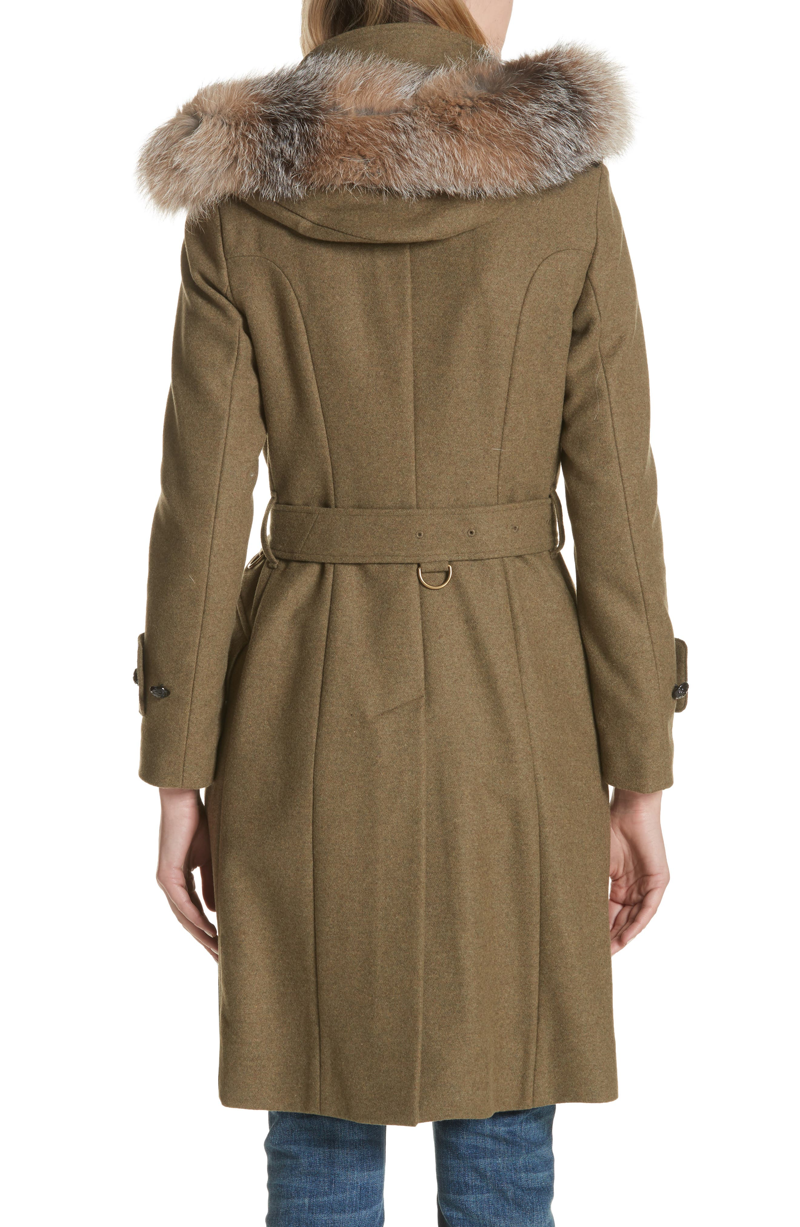 Alternate Image 2  - Burberry Claybrooke Wool Blend Coat with Removable Genuine Fox Fur Trim