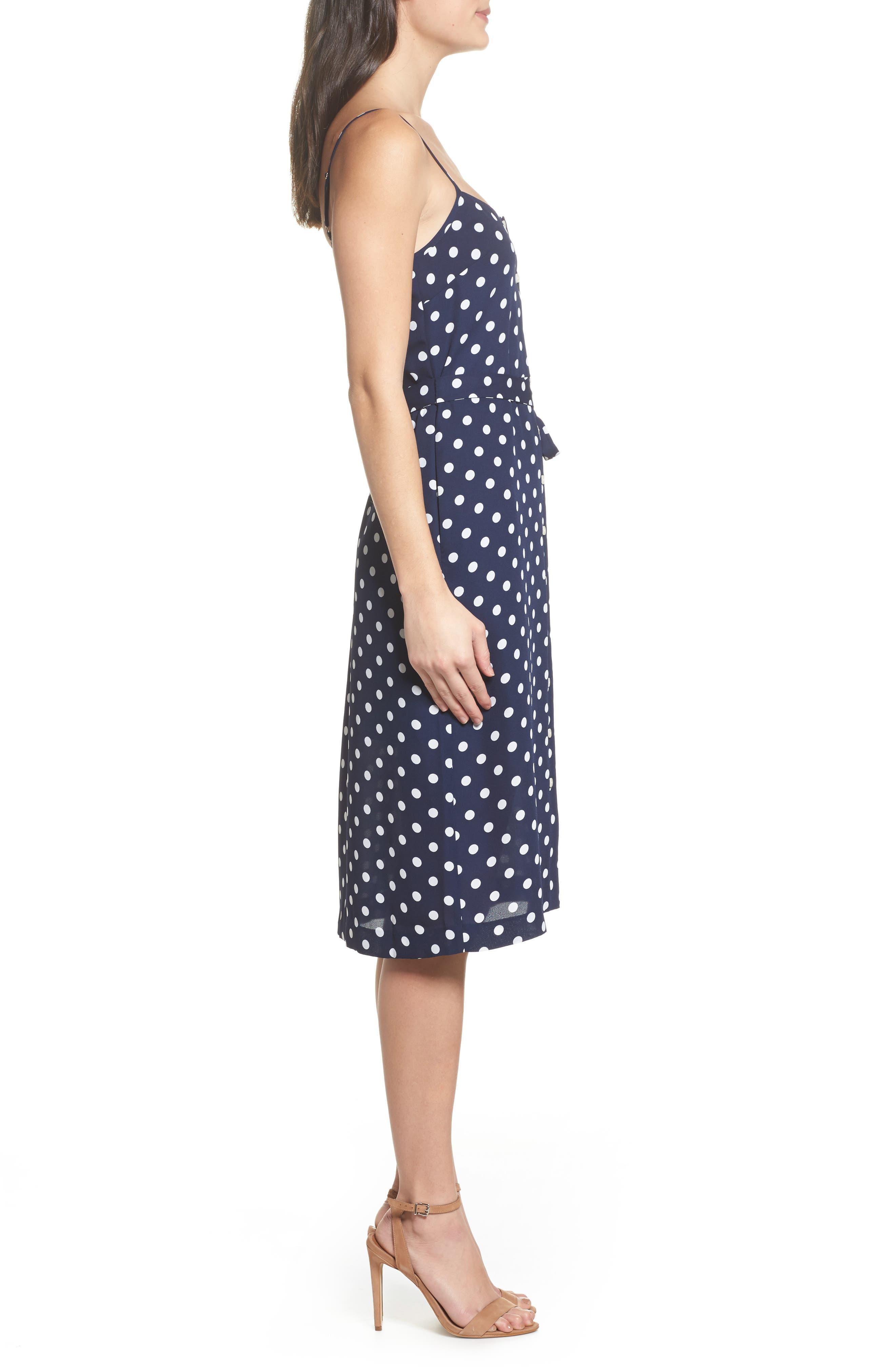 Flower Frolicking Midi Dress,                             Alternate thumbnail 4, color,                             Navy Polka Dot