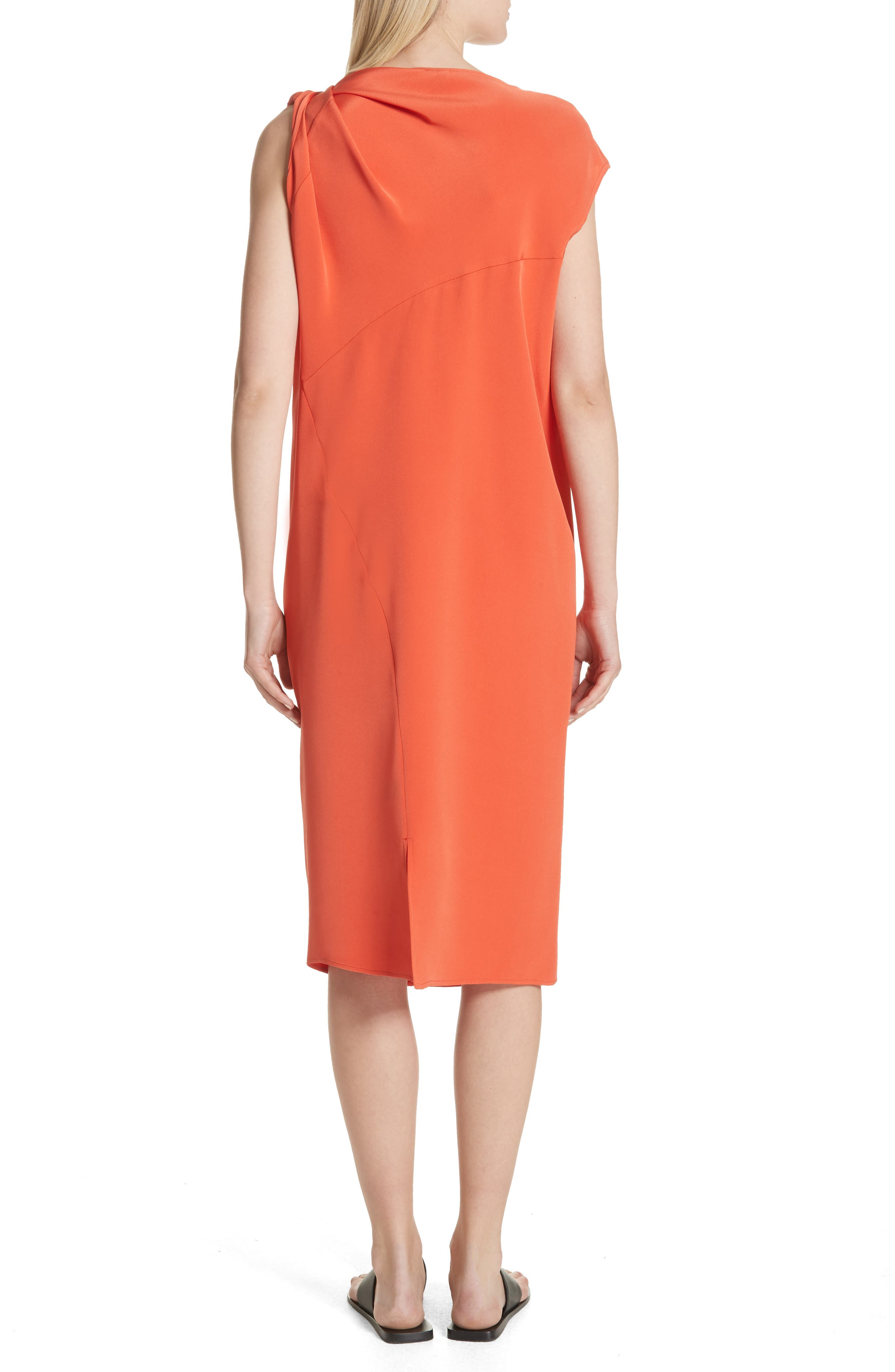 Twist Detail Silk Dress,                             Alternate thumbnail 2, color,                             Persimmon Orange
