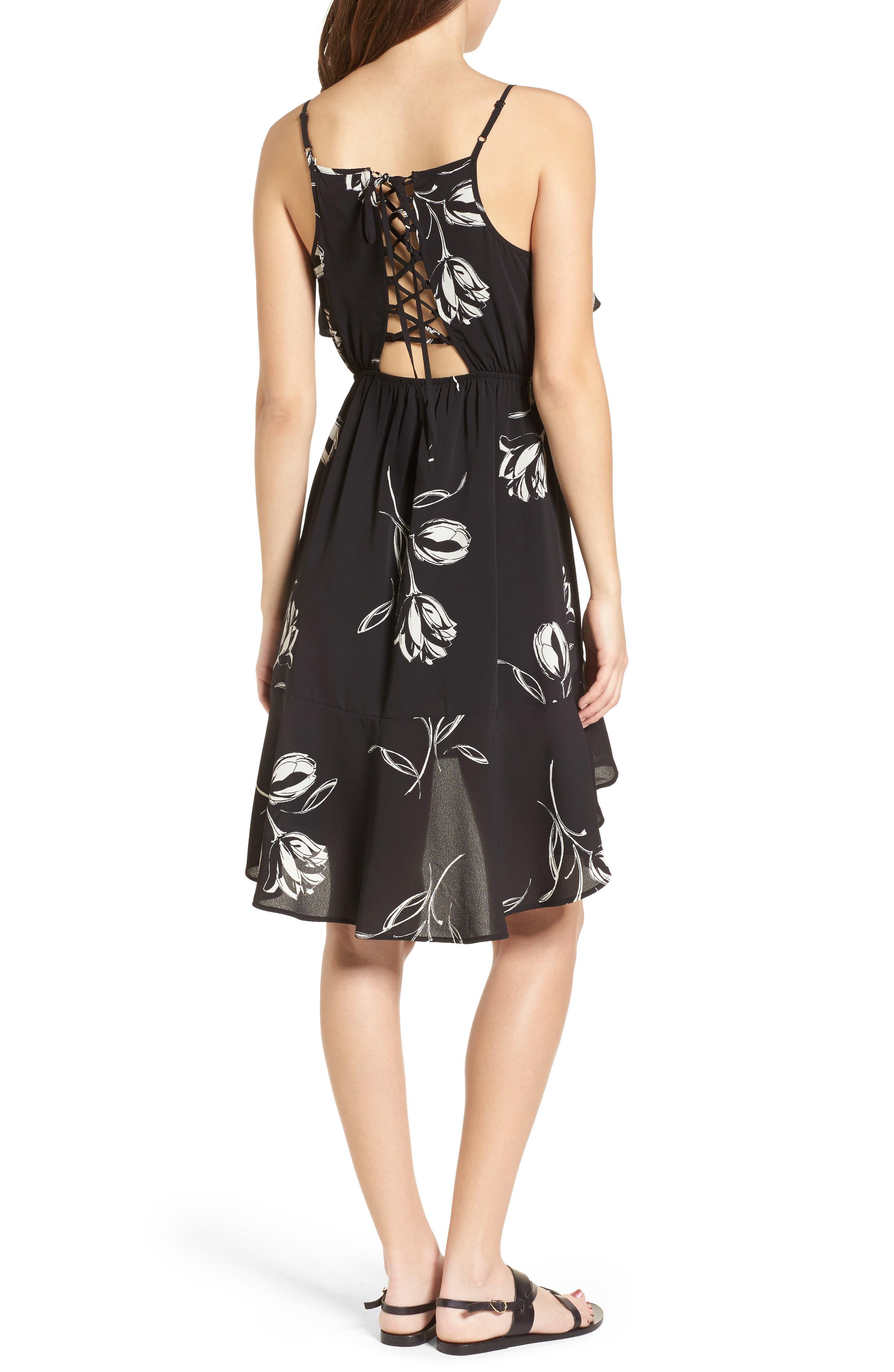 Ruffle Trim Tulip Print Dress,                             Alternate thumbnail 2, color,                             Black/ Ivory
