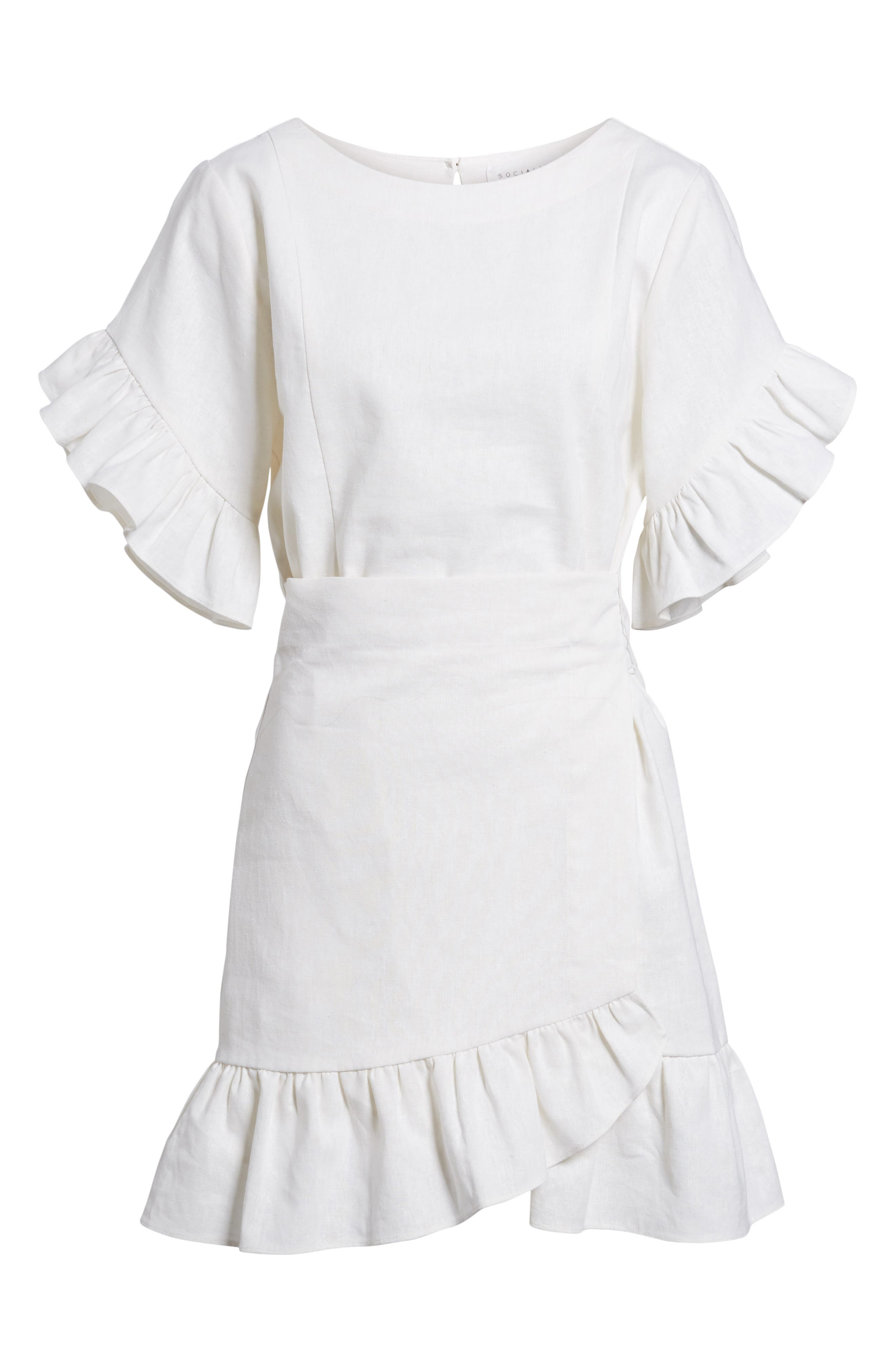 Ruffle Faux Wrap Dress,                             Alternate thumbnail 6, color,                             Ivory