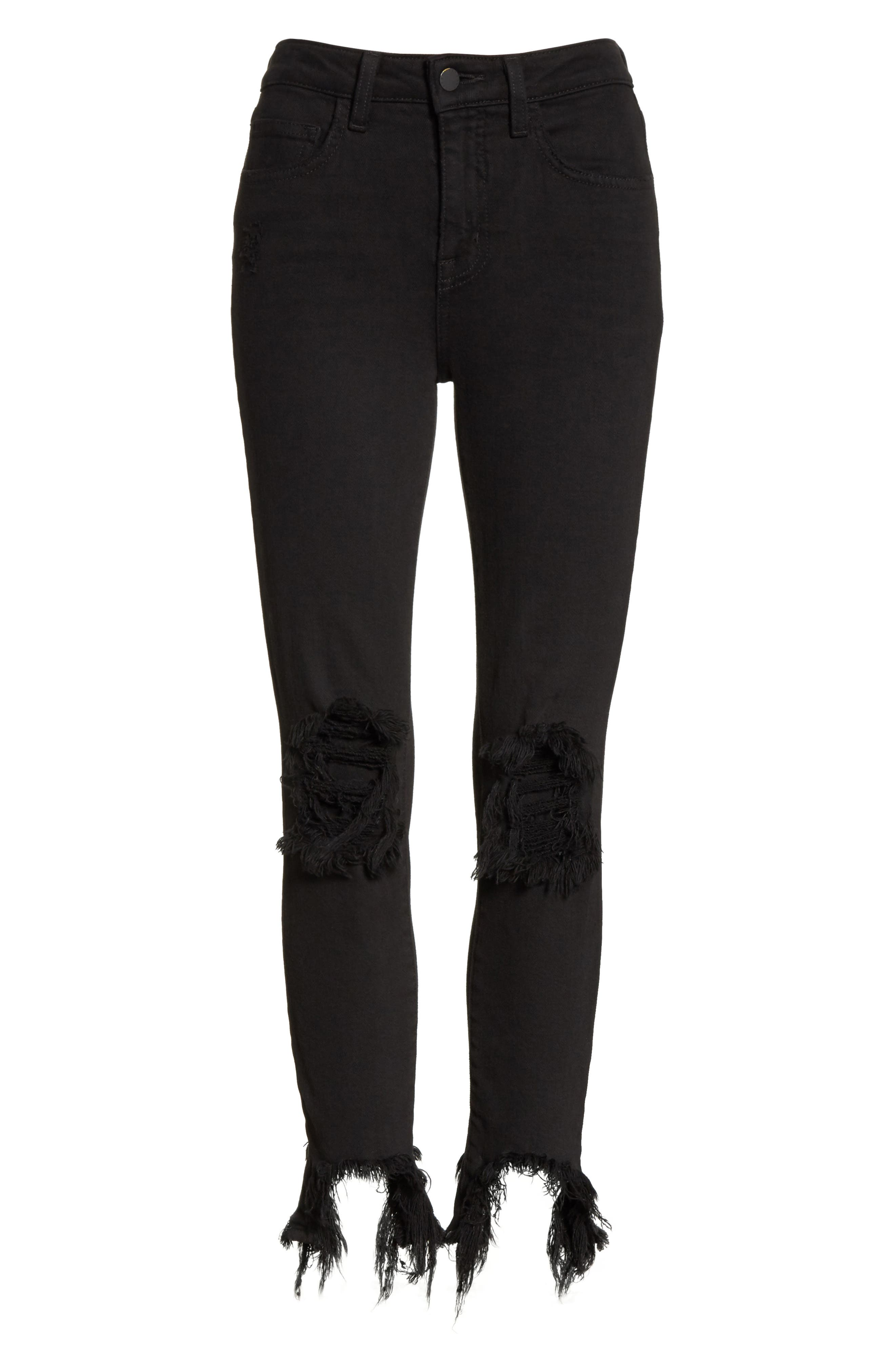 Highline High Waist Fray Hem Skinny Jeans,                             Alternate thumbnail 6, color,                             Saturated Black Destruct