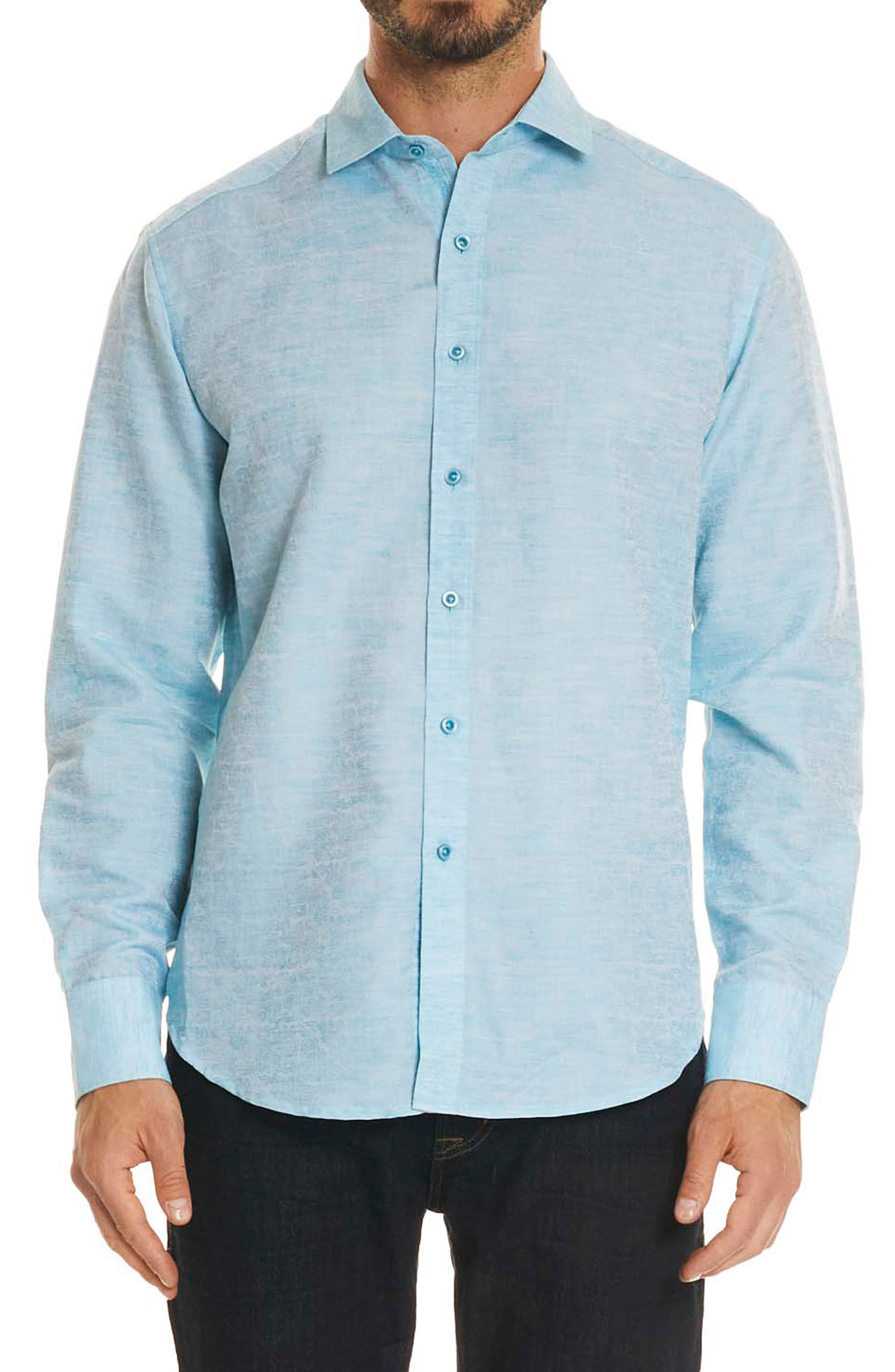 Cyprus Classic Fit Linen & Cotton Sport Shirt,                         Main,                         color, Teal