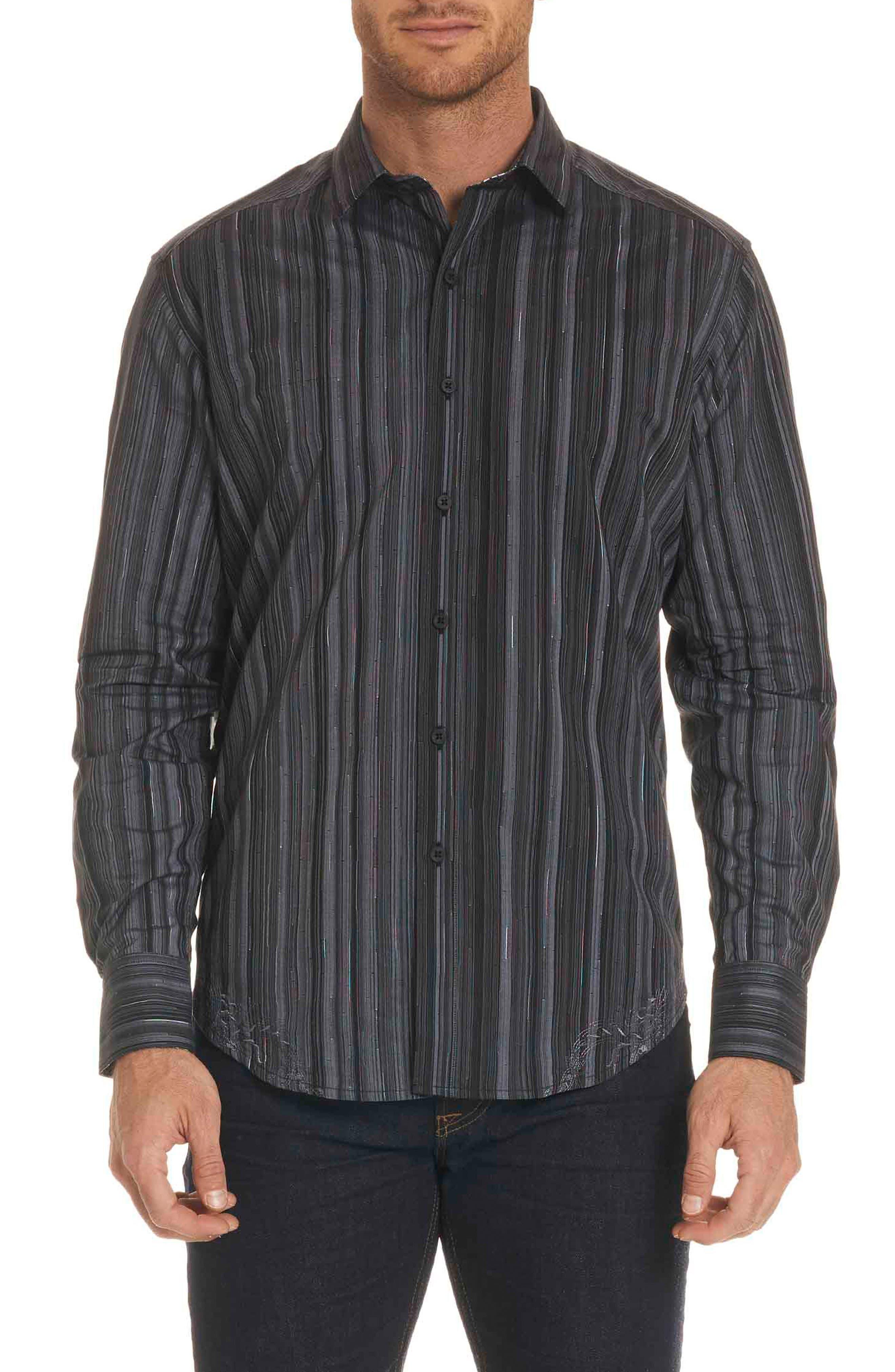 Lopez Classic Fit Stripe Sport Shirt,                         Main,                         color, Black