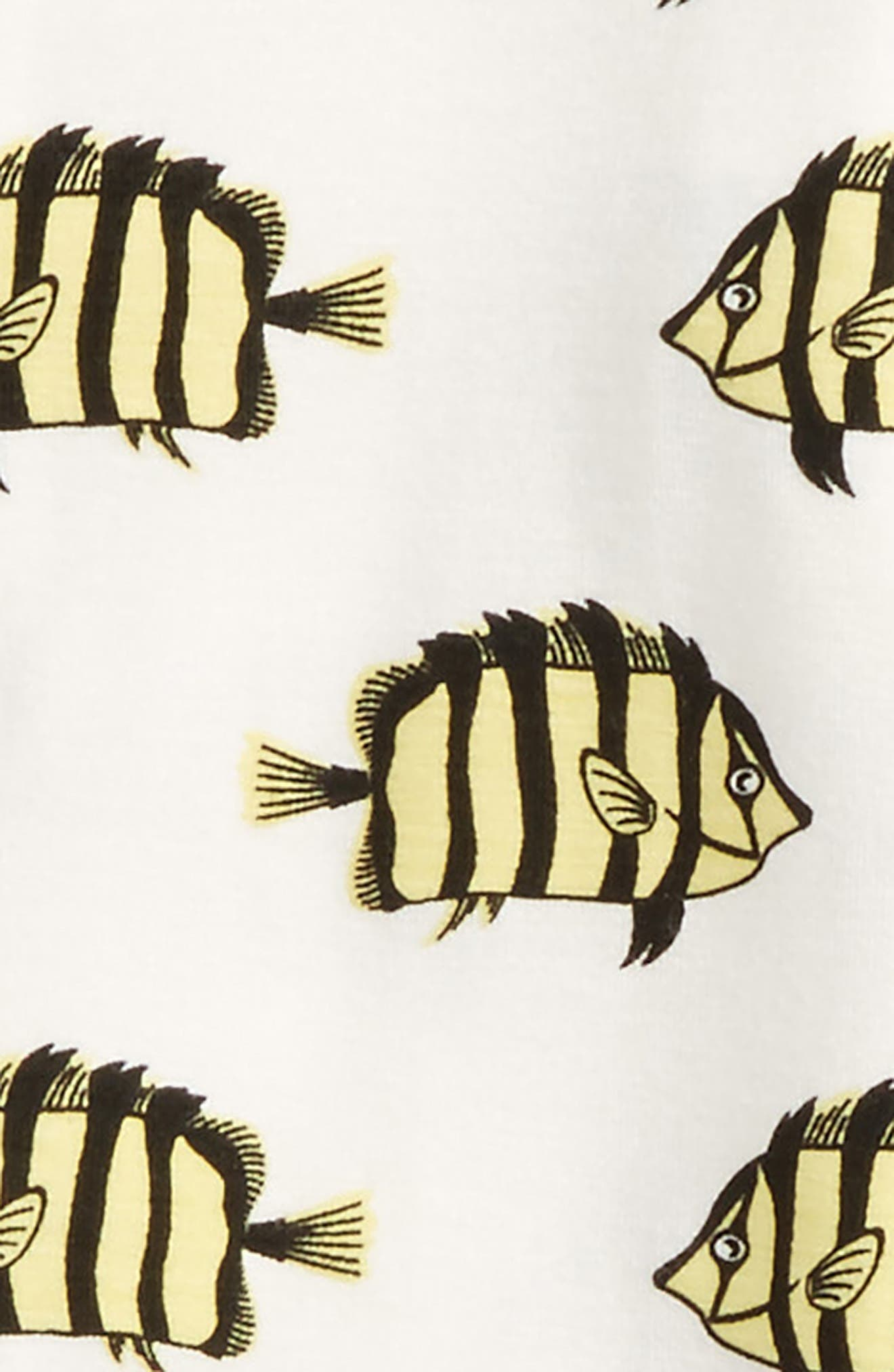 Print Footie,                             Alternate thumbnail 2, color,                             Natural/ Butterflyfish