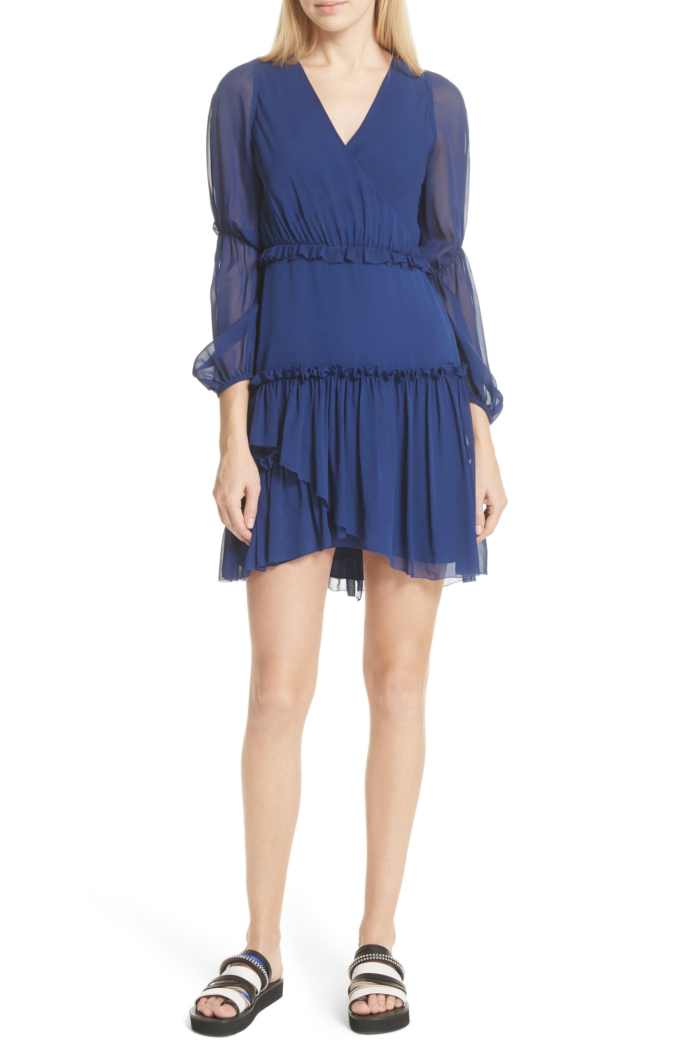 Gathered Silk Dress,                         Main,                         color, Dark Cobalt