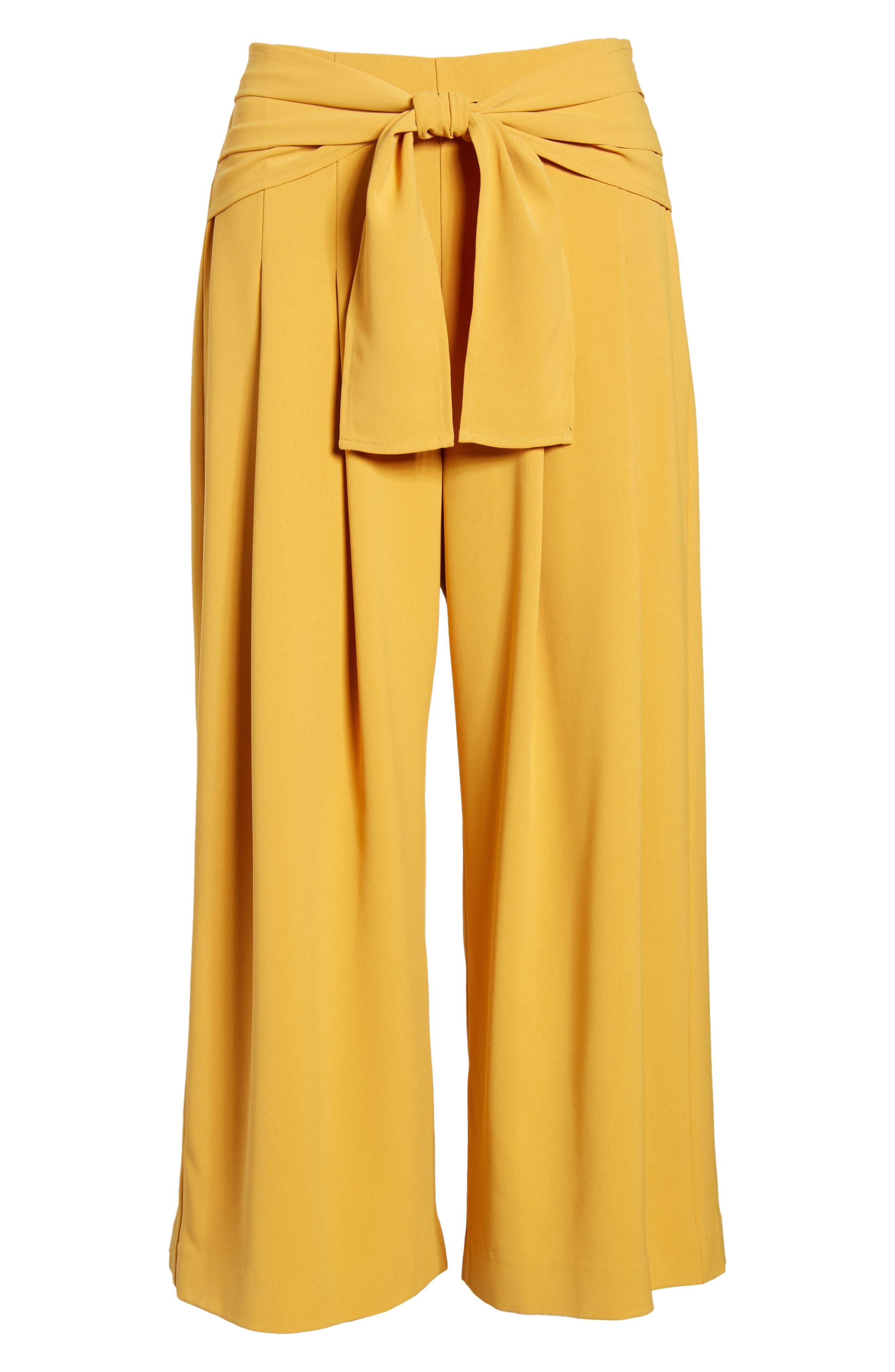 Crop Tie Waist Pants,                             Alternate thumbnail 8, color,                             Marigold
