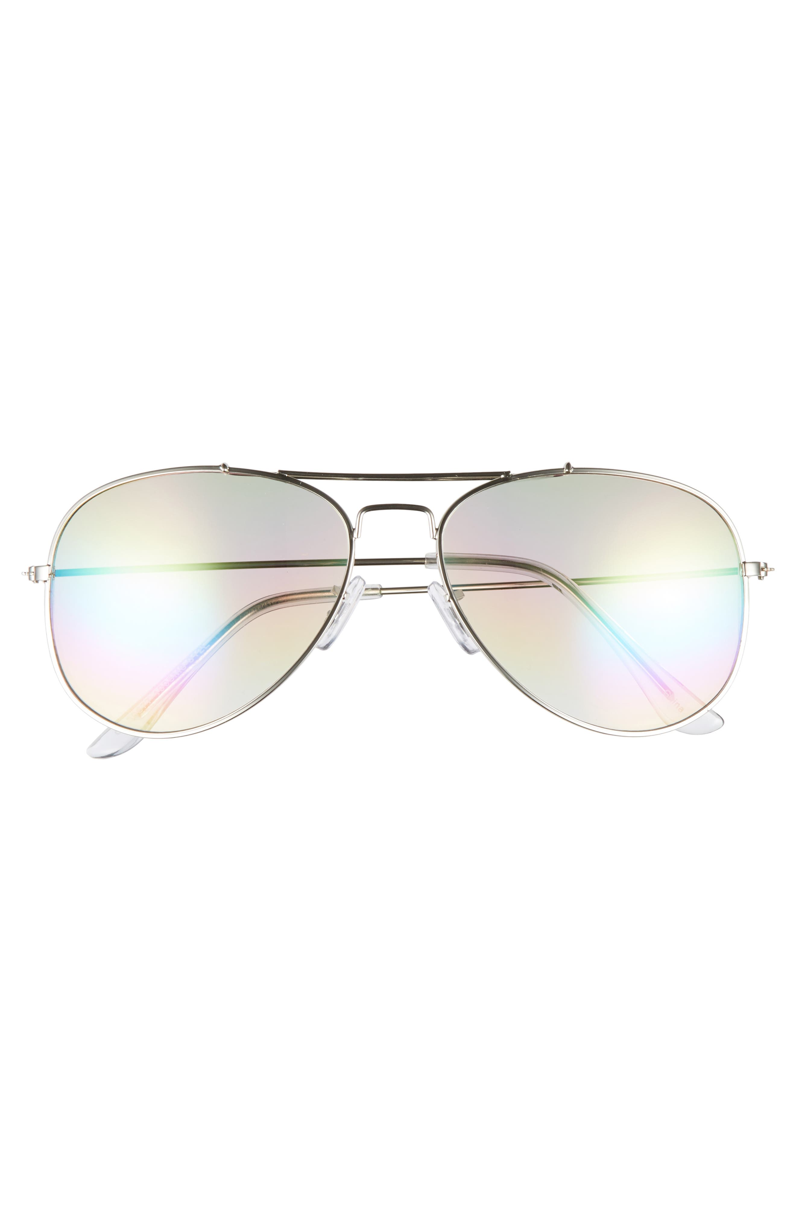 Rainbow Aviator Sunglasses,                             Alternate thumbnail 3, color,                             Silver/ Multi