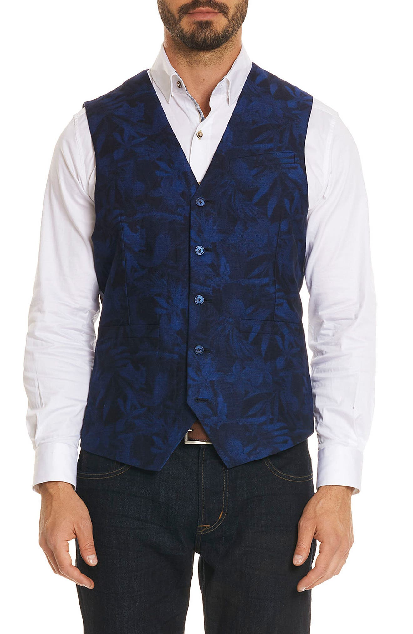 Nunez Regular Fit Linen & Cotton Vest,                         Main,                         color, Blue