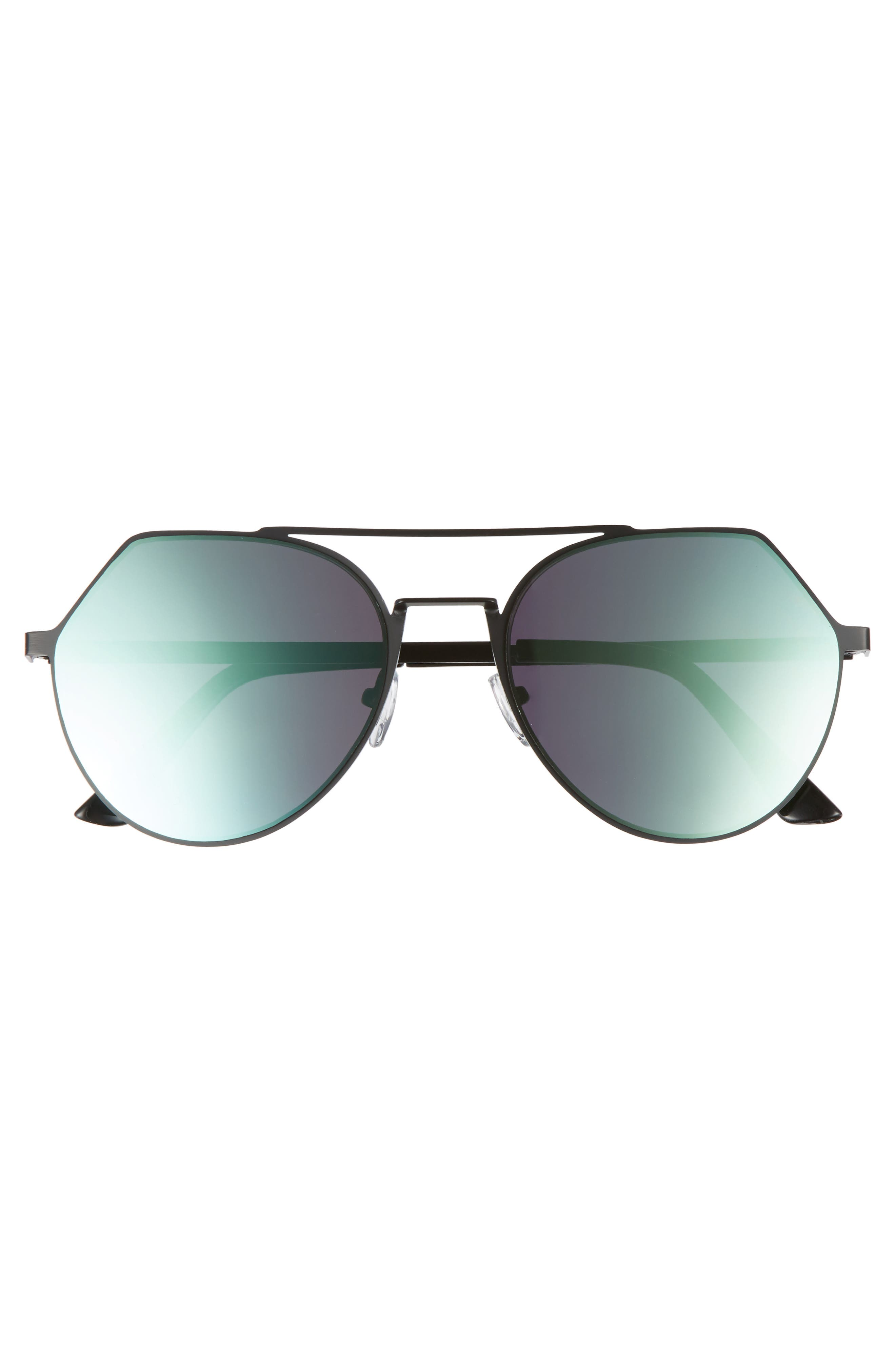Mirrored Aviator Sunglasses,                             Alternate thumbnail 3, color,                             Black/Green