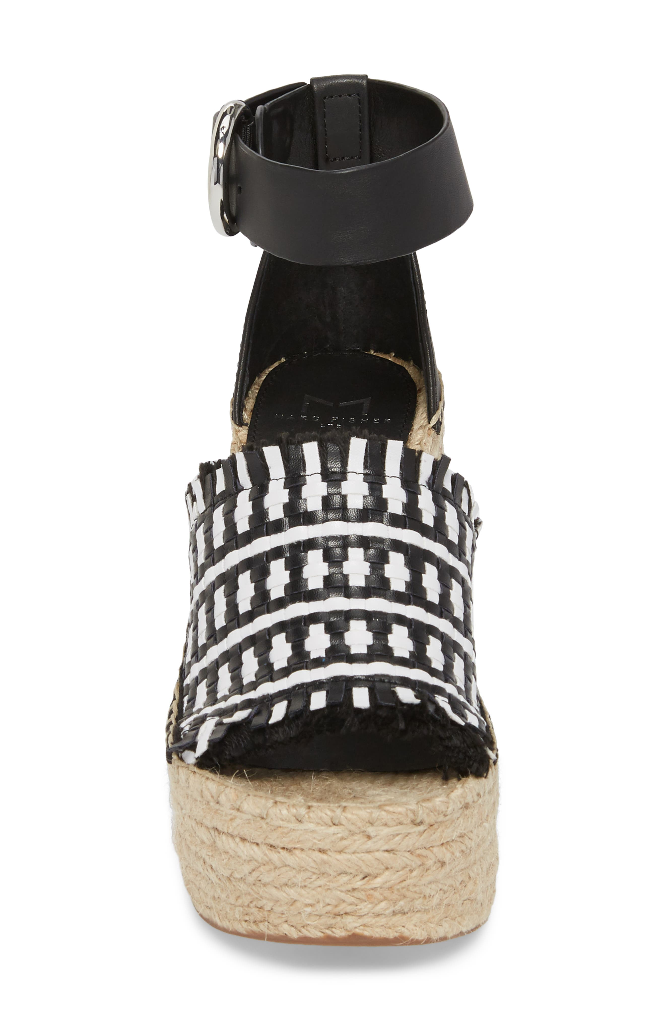 Andrew Espadrille Wedge Sandal,                             Alternate thumbnail 4, color,                             White/ Black Leather