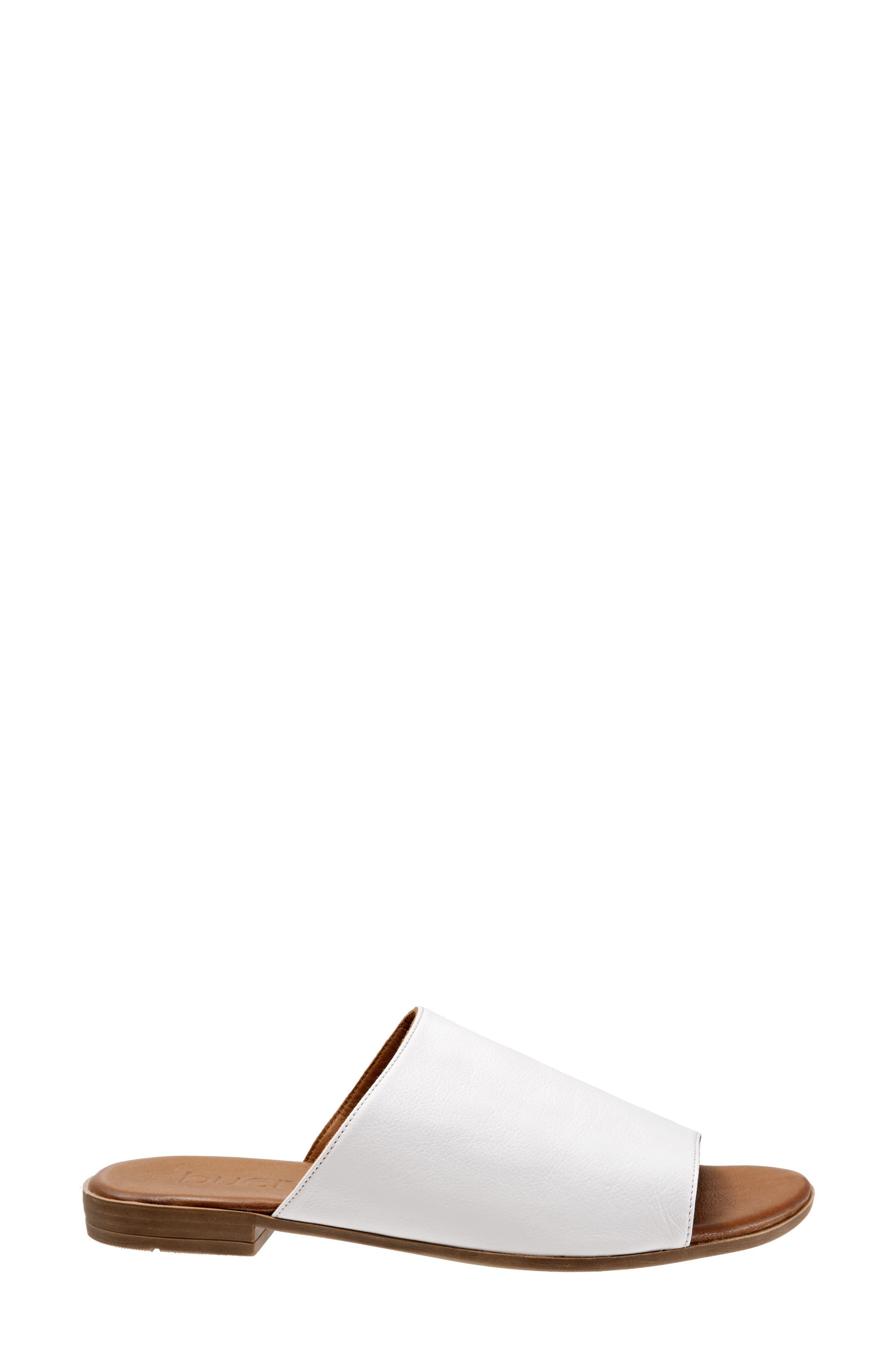 Jory Slide Sandal,                             Alternate thumbnail 3, color,                             White Leather