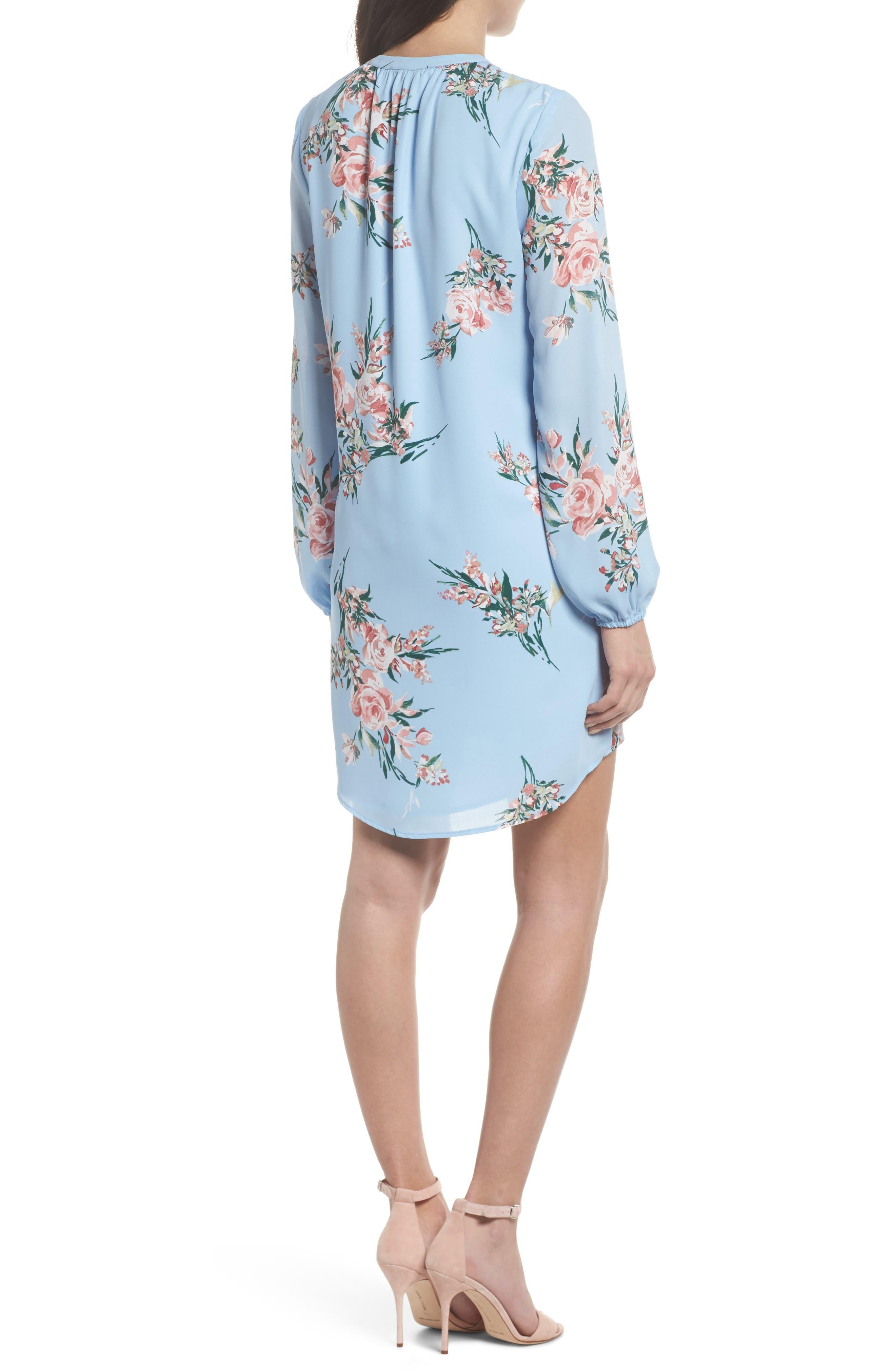 Floral Shift Dress,                             Alternate thumbnail 2, color,                             Blue Floral