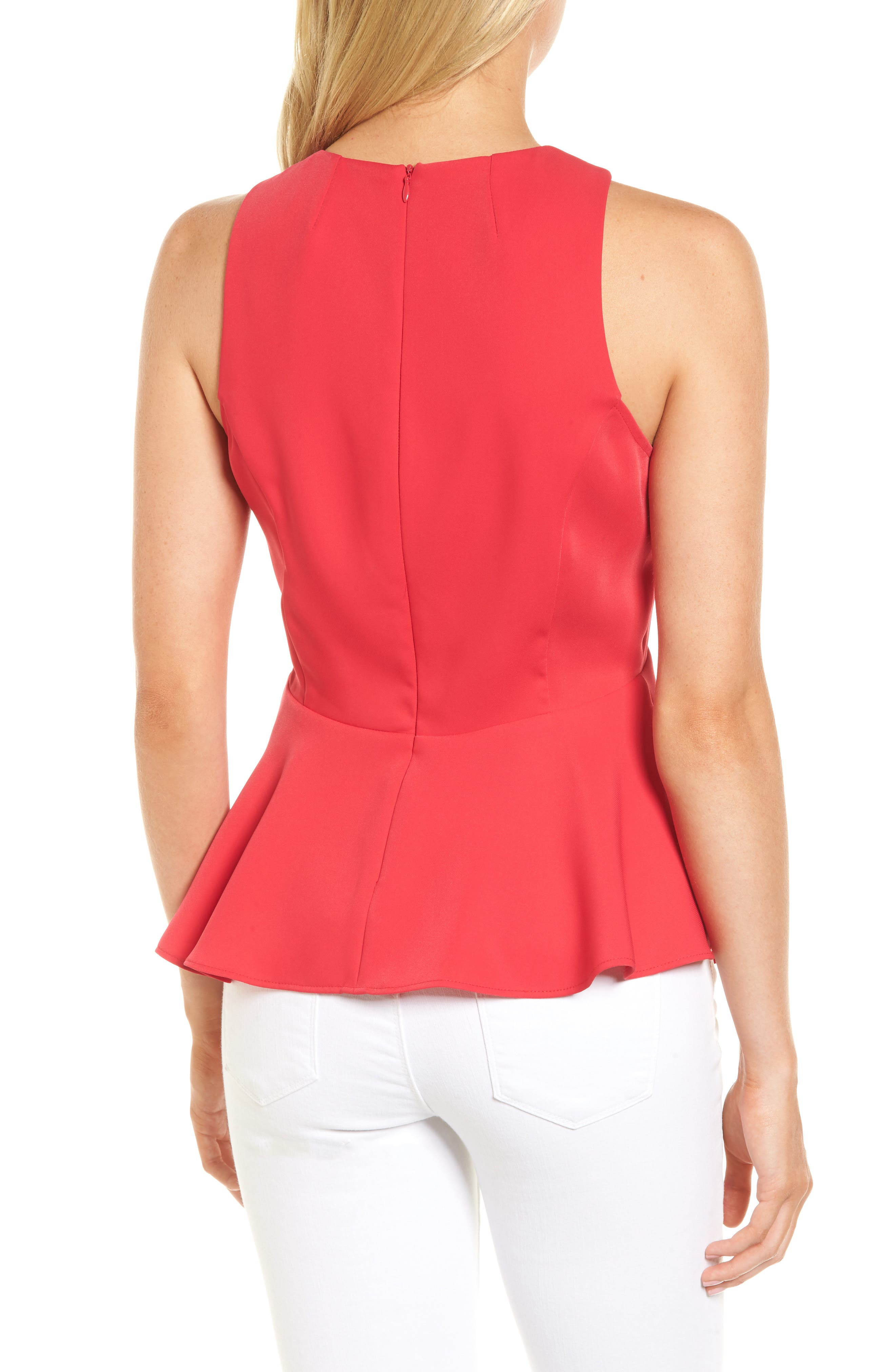 Date Peplum Top,                             Alternate thumbnail 2, color,                             Red Barberry