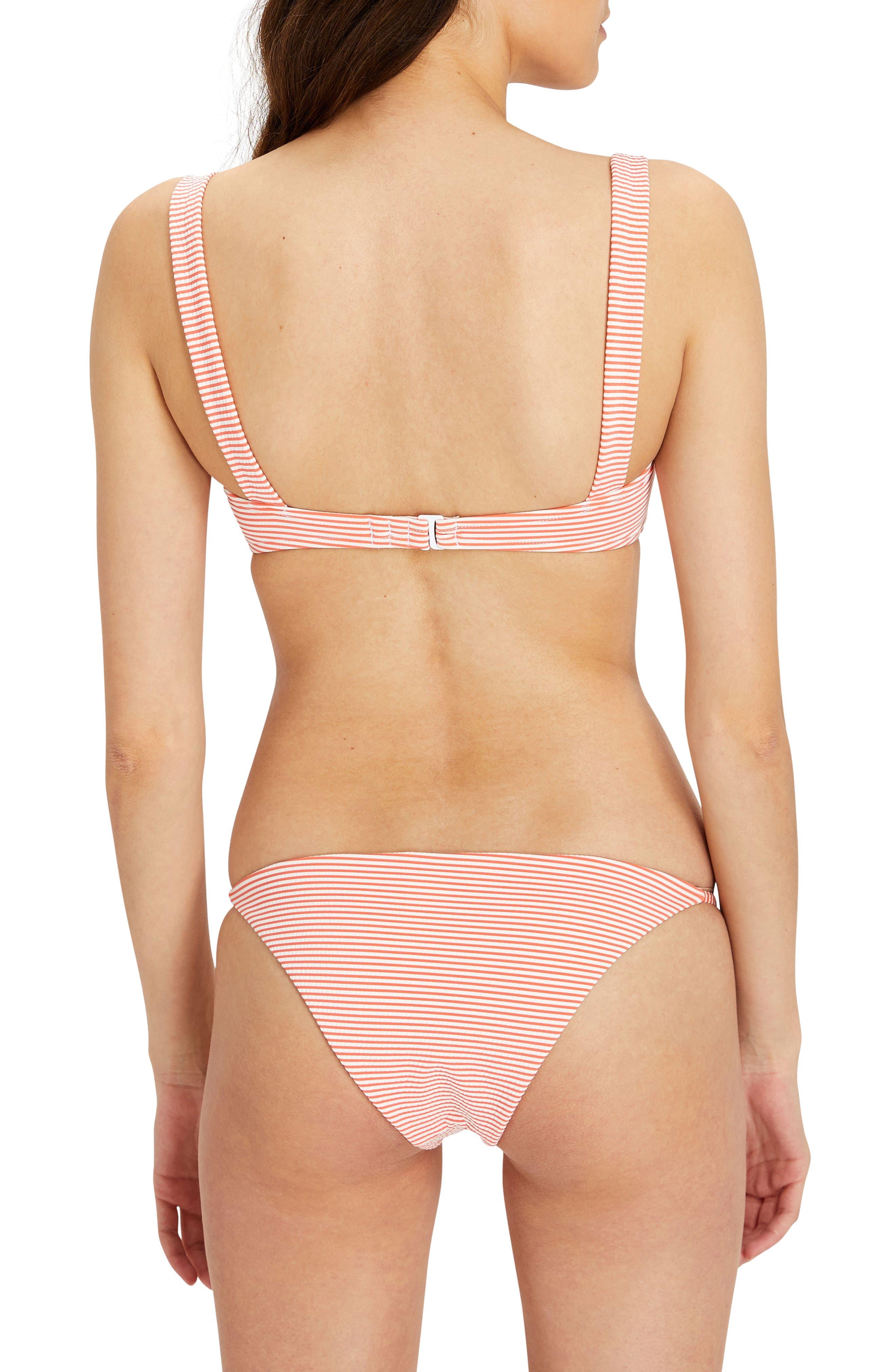 Kirsten Structured Bikini Top,                             Alternate thumbnail 4, color,                             Sunrise/ White