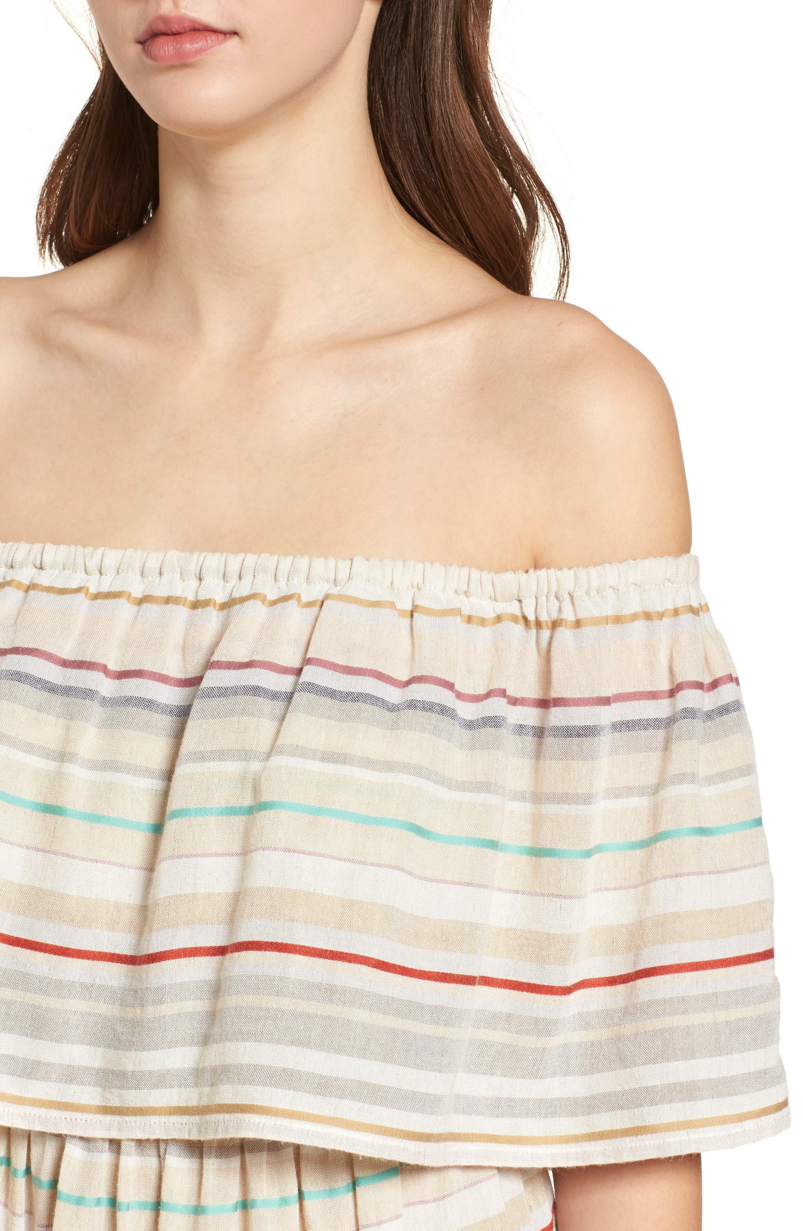 Stripe Off the Shoulder Dress,                             Alternate thumbnail 4, color,                             Beige Nougat Multi Stripe