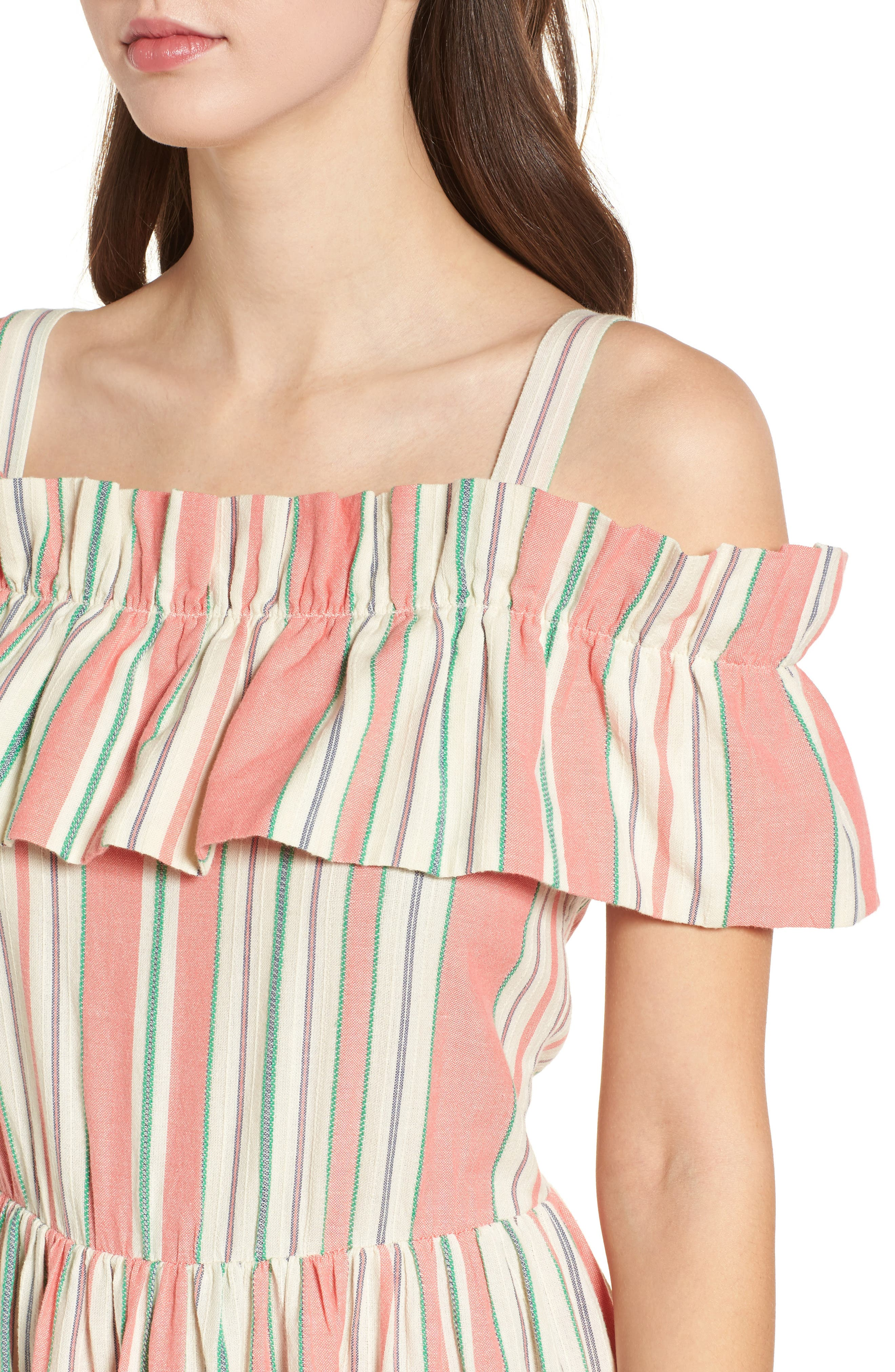 Stripe Ruffle Cold Shoulder Dress,                             Alternate thumbnail 4, color,                             Coral Amber Bold Stripe