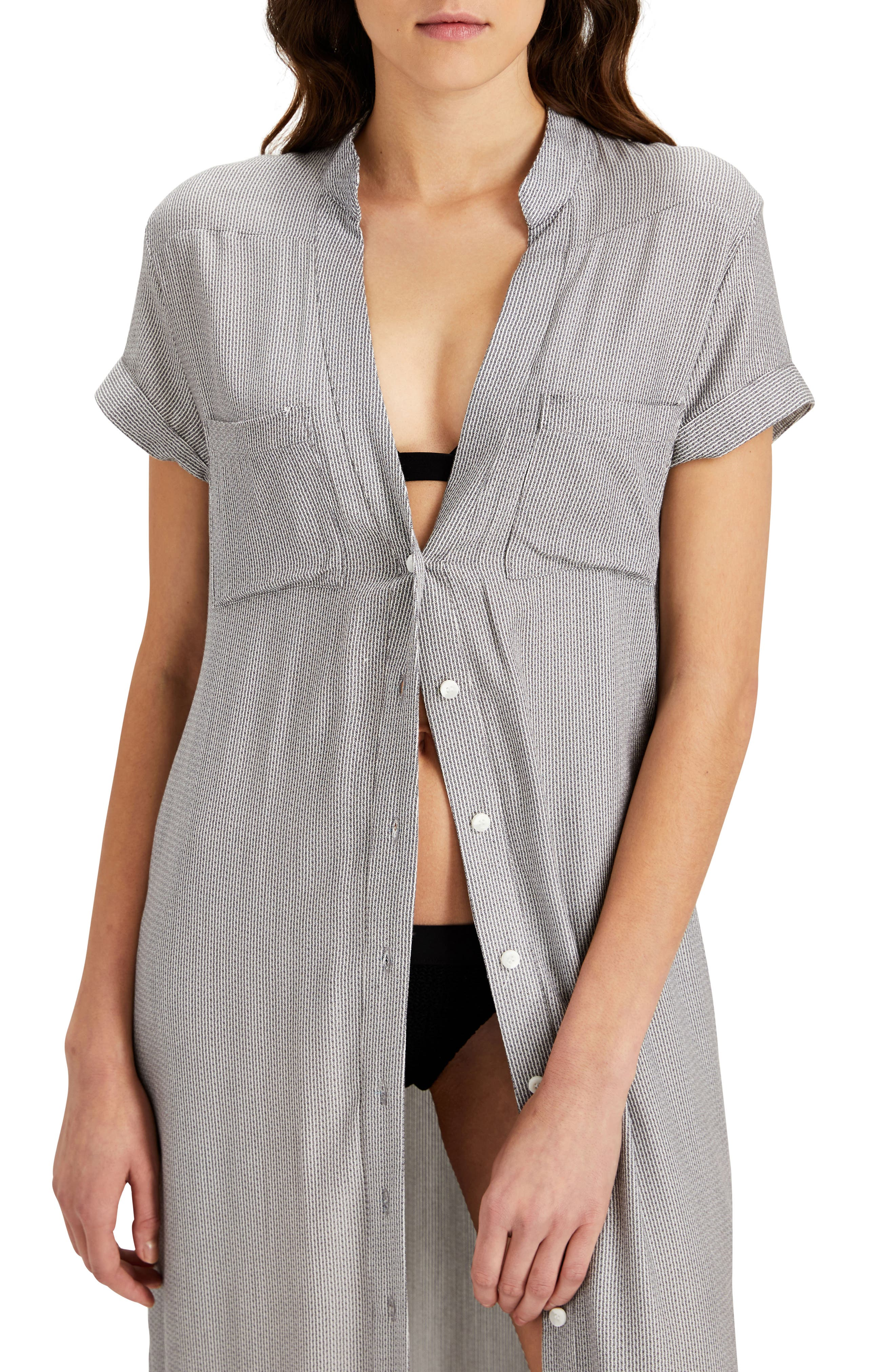 Kim Button Down Cover-Up Dress,                             Alternate thumbnail 3, color,                             Charcoal/ White