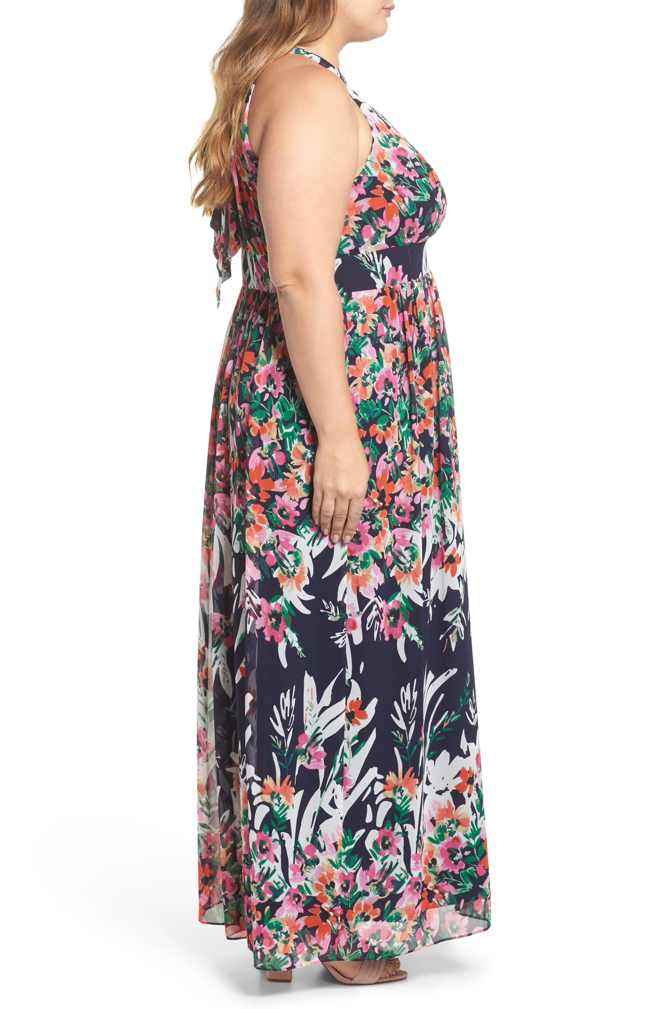 Floral Halter Chiffon Maxi Dress,                             Alternate thumbnail 3, color,                             Navy/ Pink