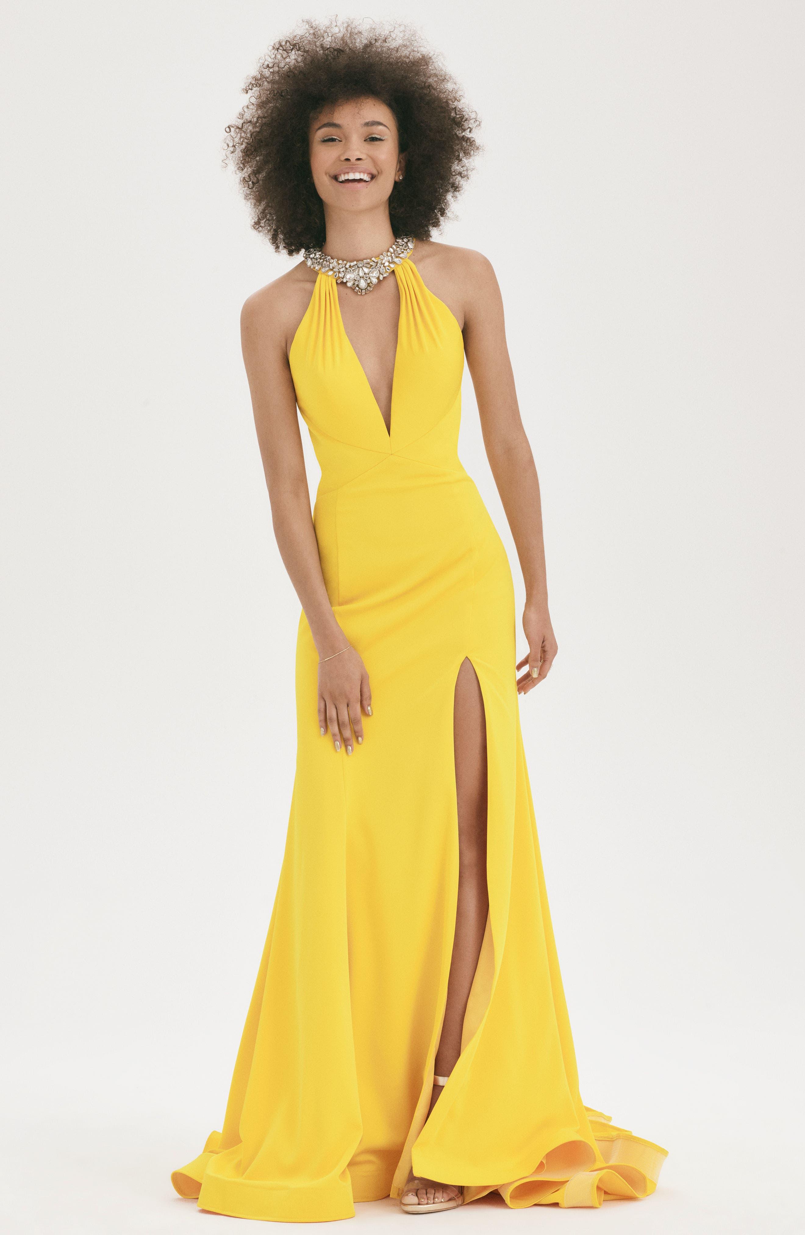 Jewel Neck Mermaid Gown,                             Alternate thumbnail 2, color,                             Sunshine