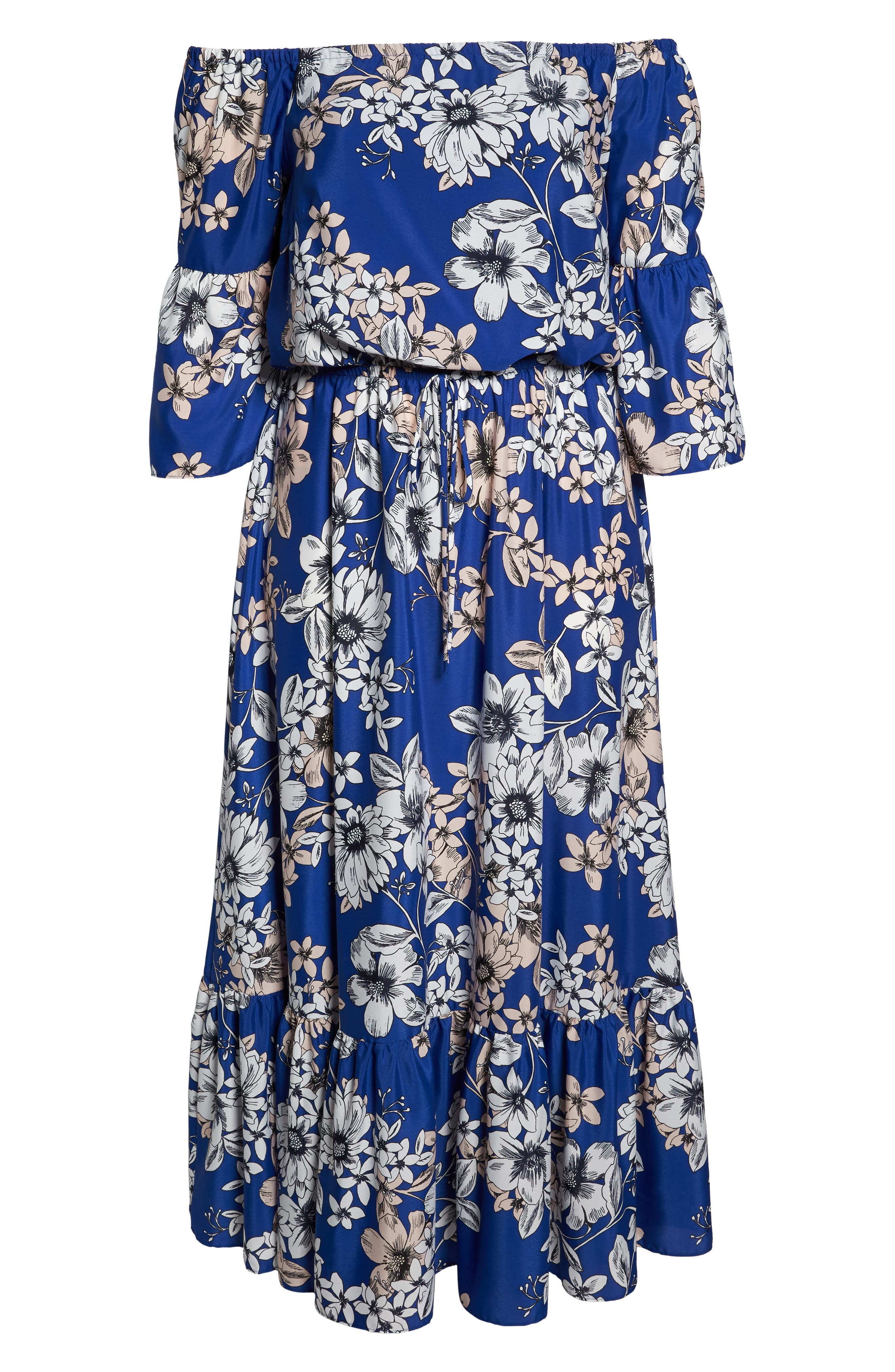 Off the Shoulder Floral Maxi Dress,                             Alternate thumbnail 6, color,                             Cobalt