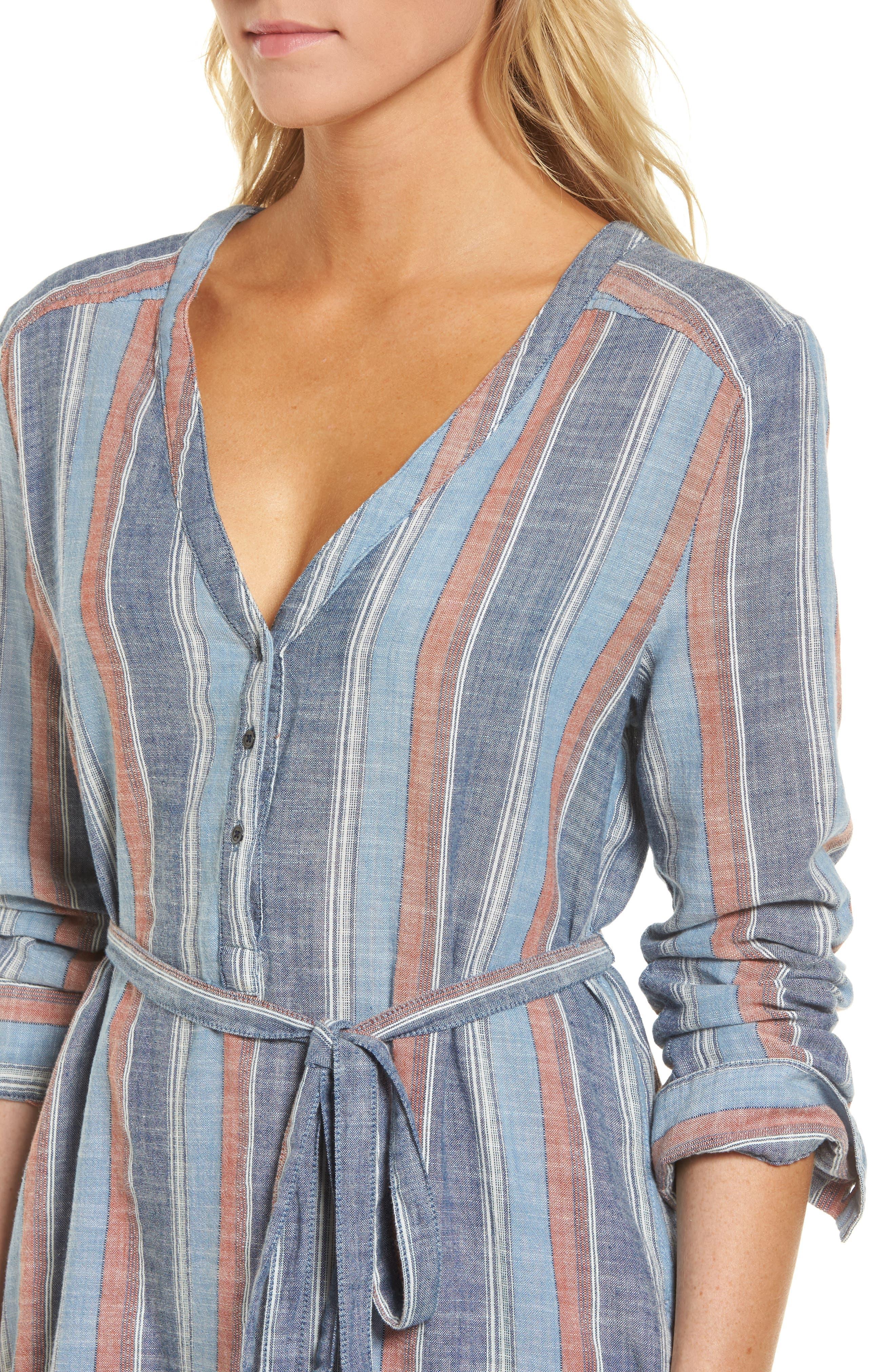 Anna Henley Dress,                             Alternate thumbnail 4, color,                             Blue Fig Multi