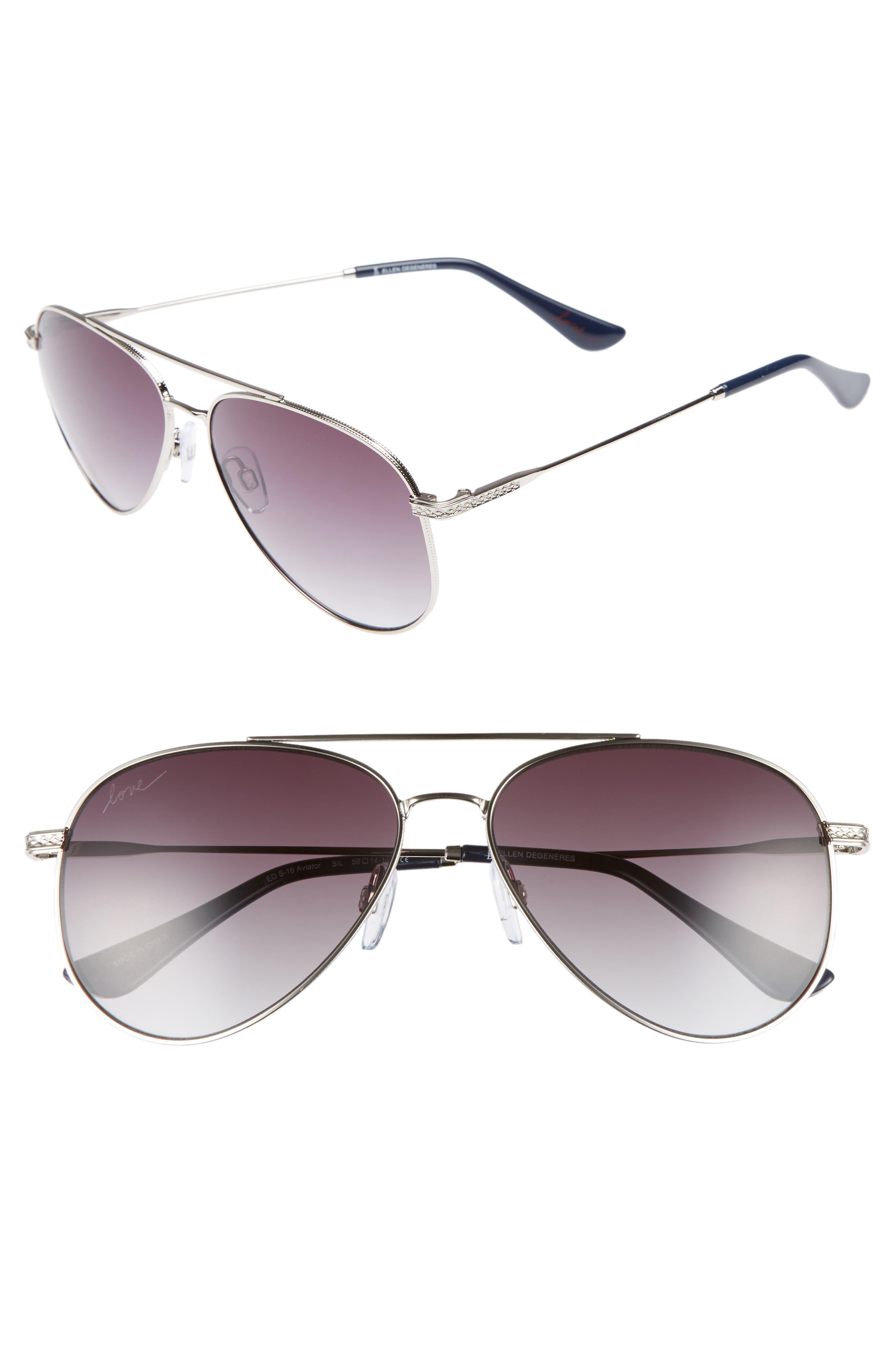 58mm Aviator Sunglasses,                         Main,                         color, Matte Silver