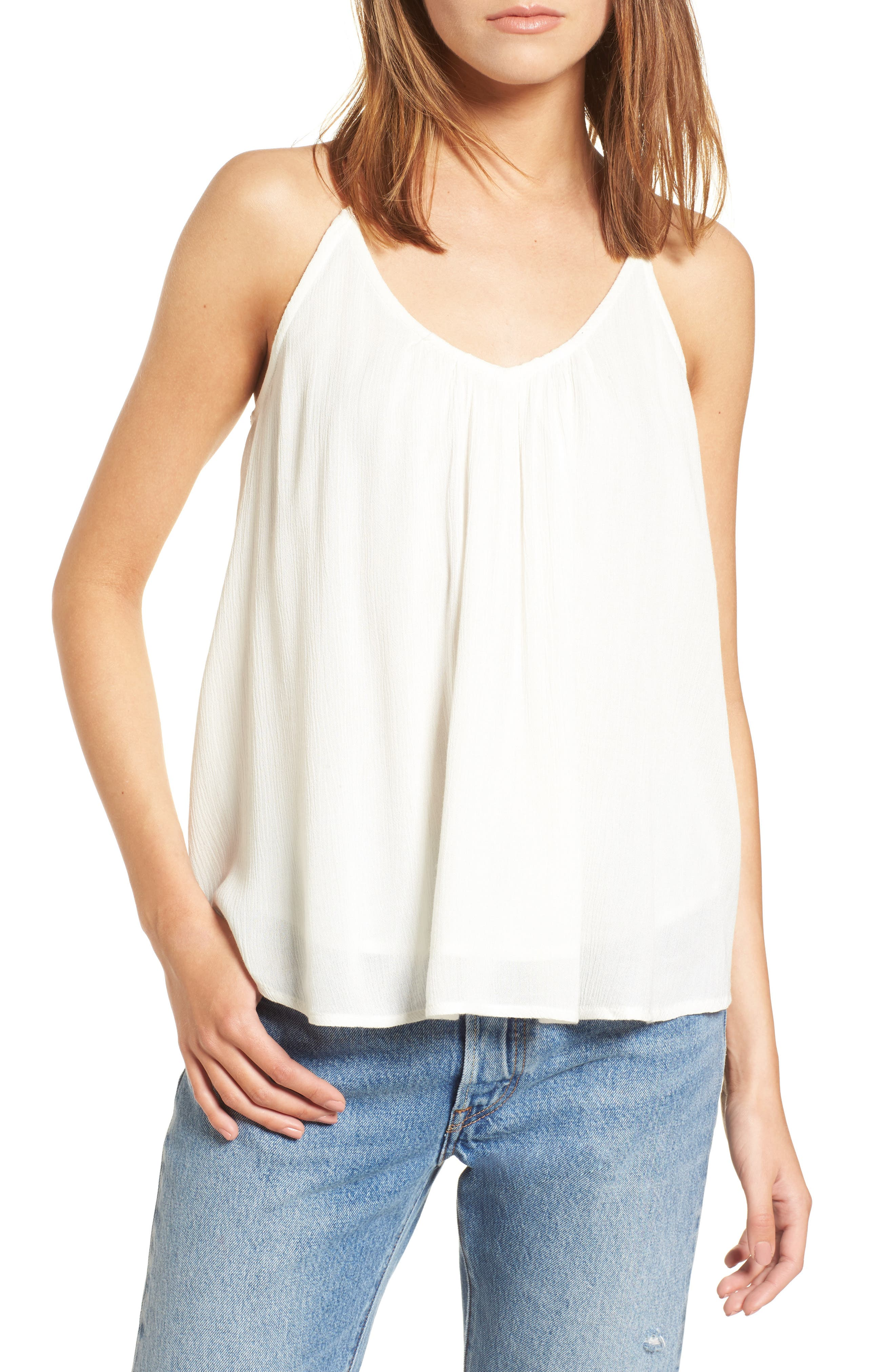 Local in the Sky Tie Back Tank,                         Main,                         color, Marshmallow