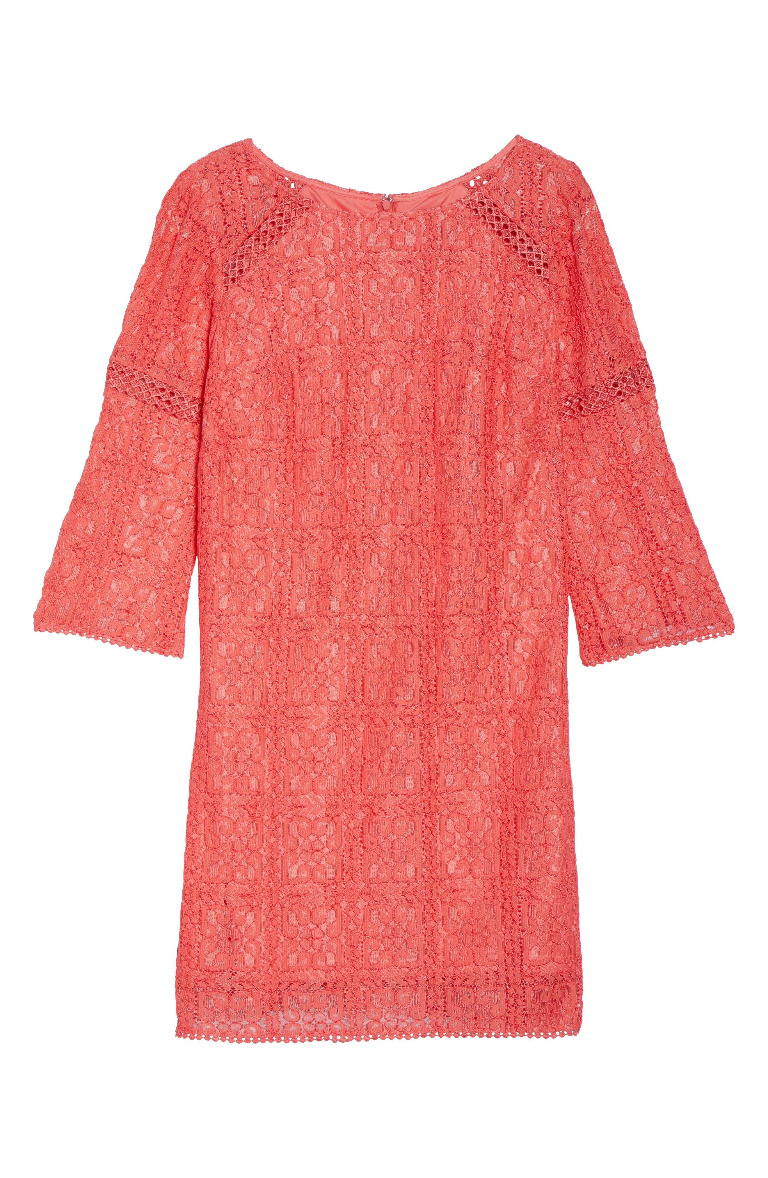 Marni Lace Shift Dress,                             Alternate thumbnail 6, color,                             Cruise Coral