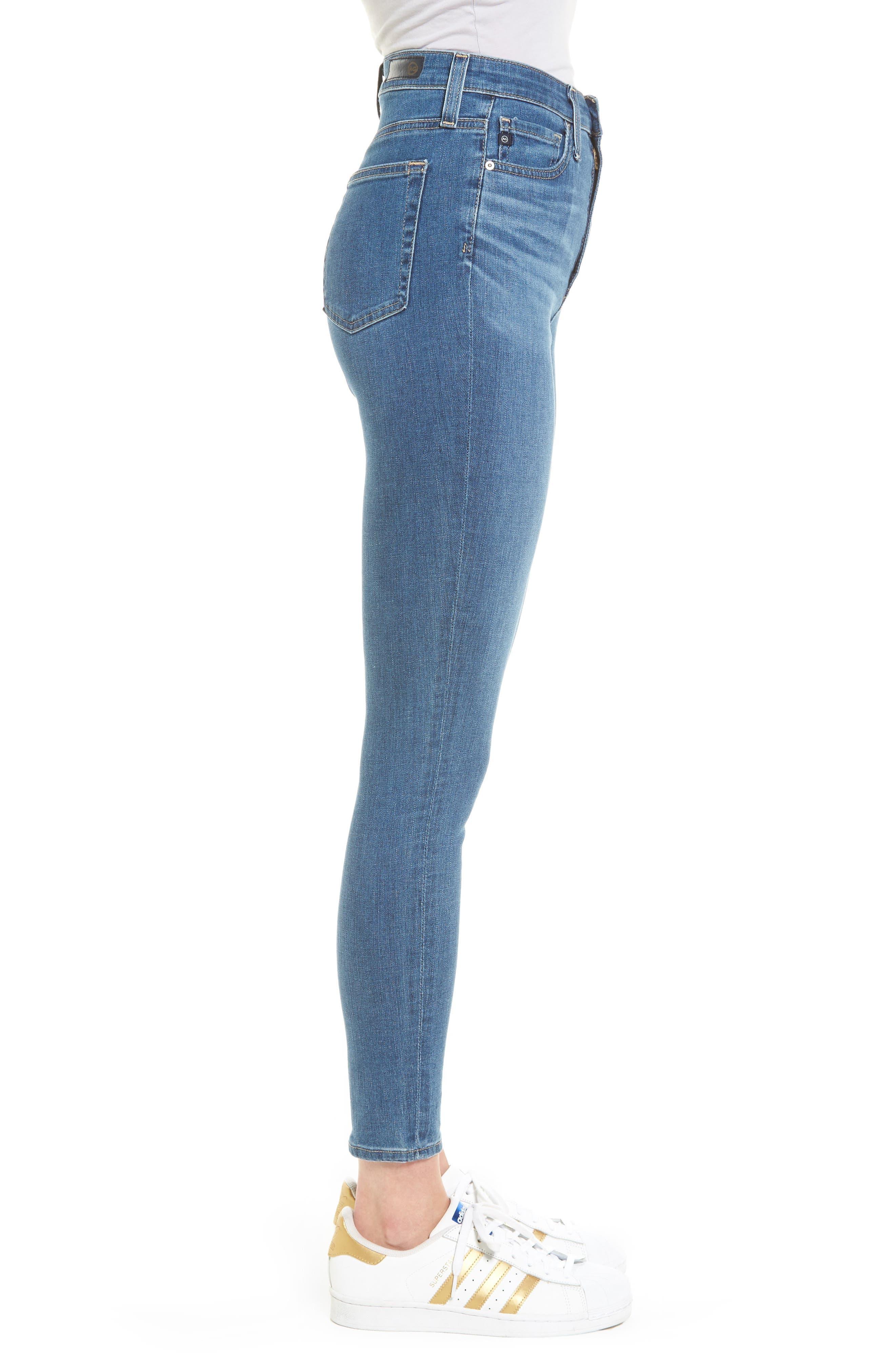 Mila High Waist Ankle Skinny Jeans,                             Alternate thumbnail 3, color,                             Indigo Viking