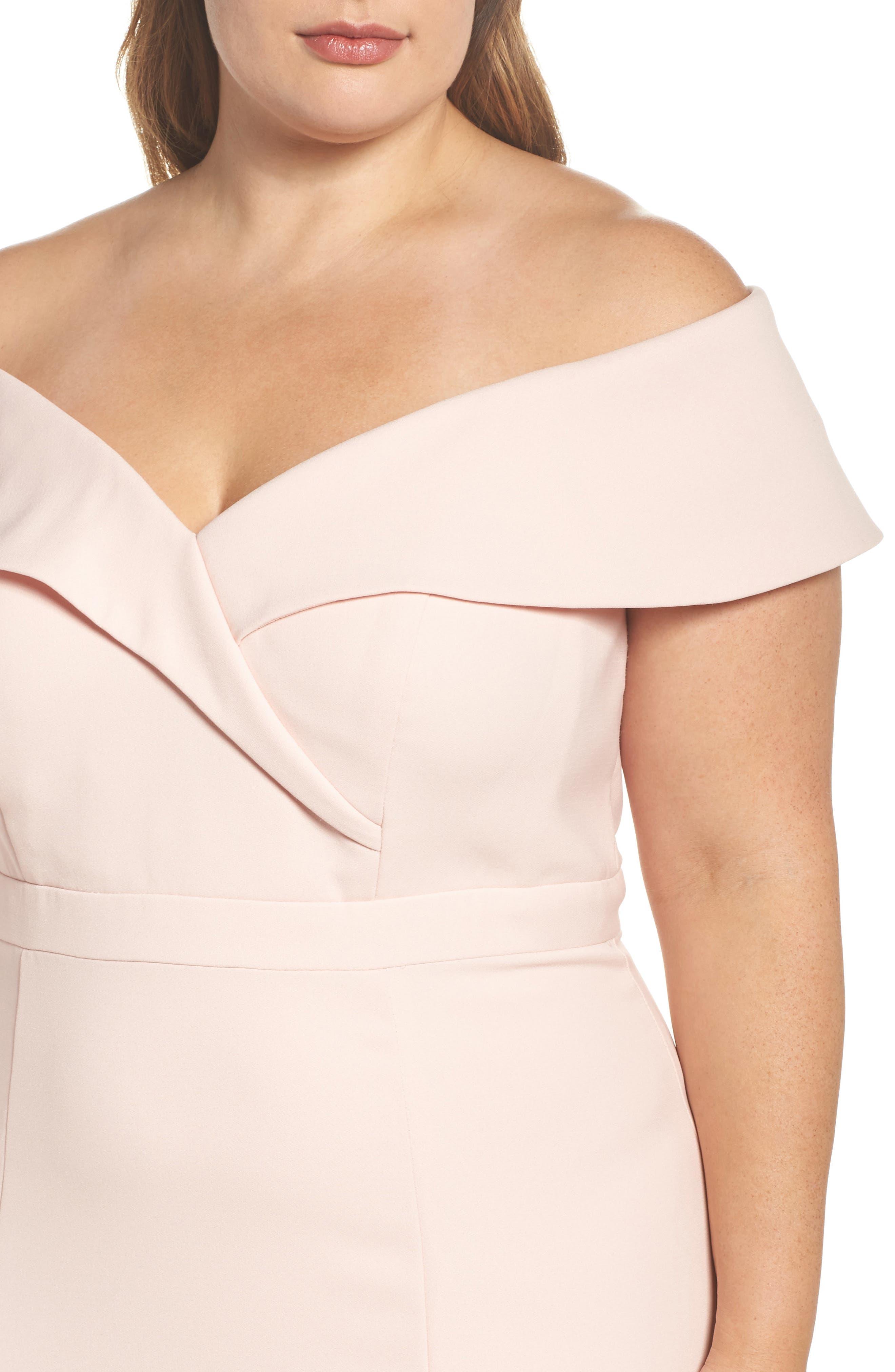 Off the Shoulder Front Slit Crepe Dress,                             Alternate thumbnail 4, color,                             Blush