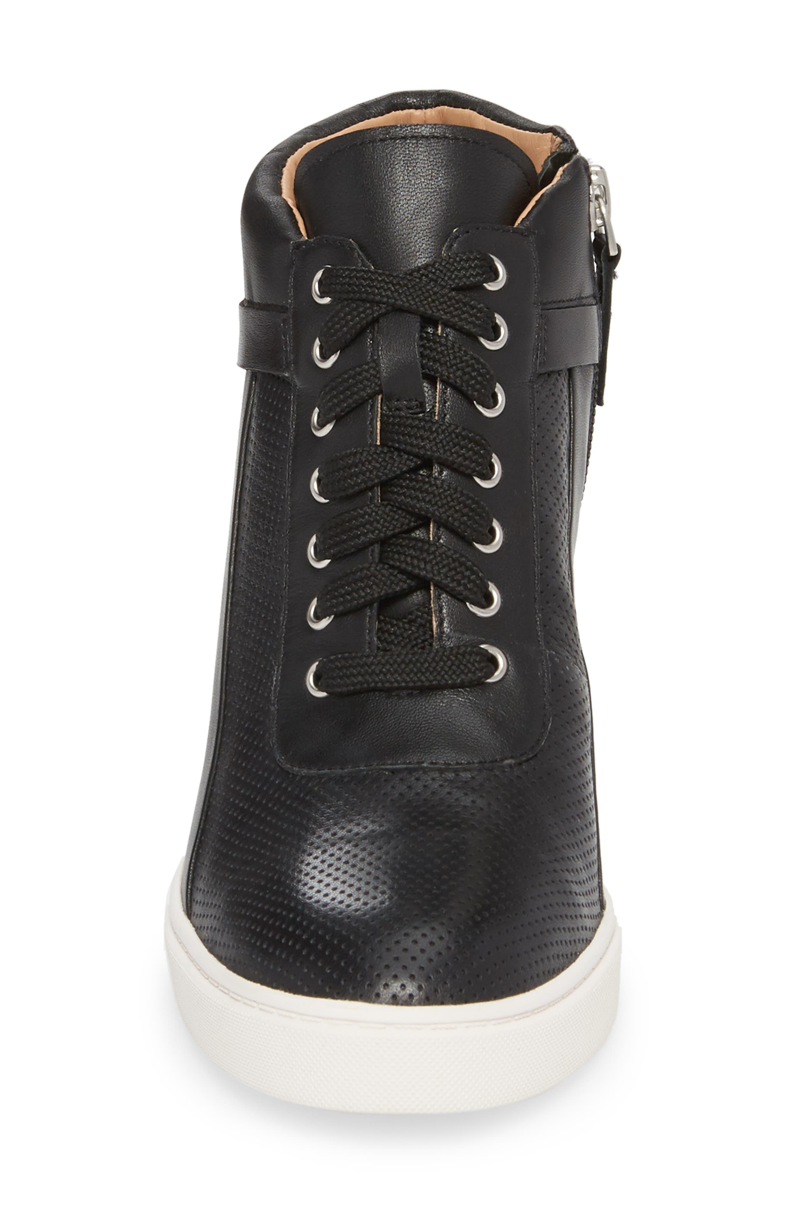 Freja Wedge Sneaker,                             Alternate thumbnail 4, color,                             Black Leather