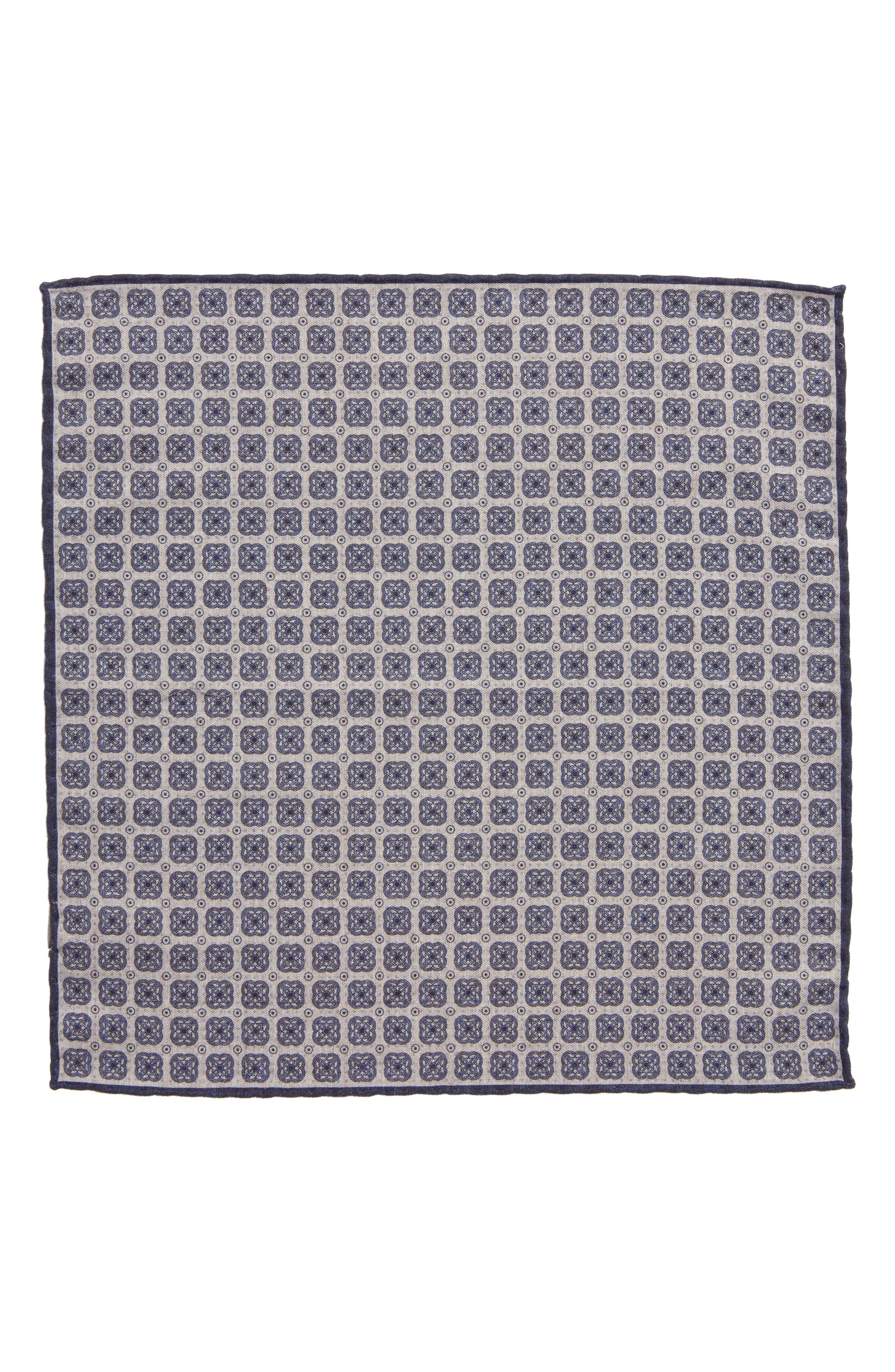 Medallion Wool & Cotton Pocket Square,                             Alternate thumbnail 2, color,                             Grey