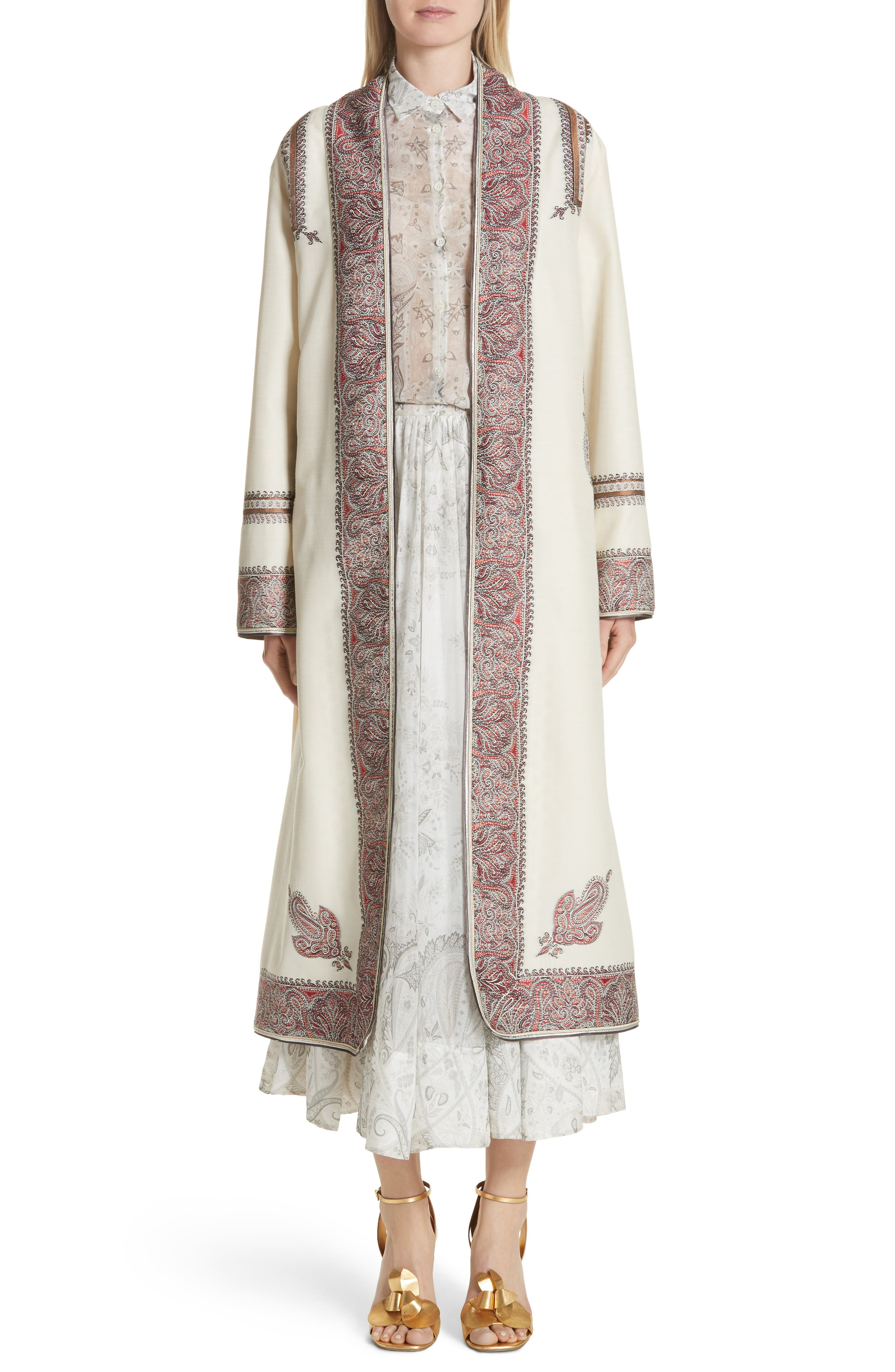 Metallic Embroidered Wrap Coat,                             Alternate thumbnail 8, color,                             White