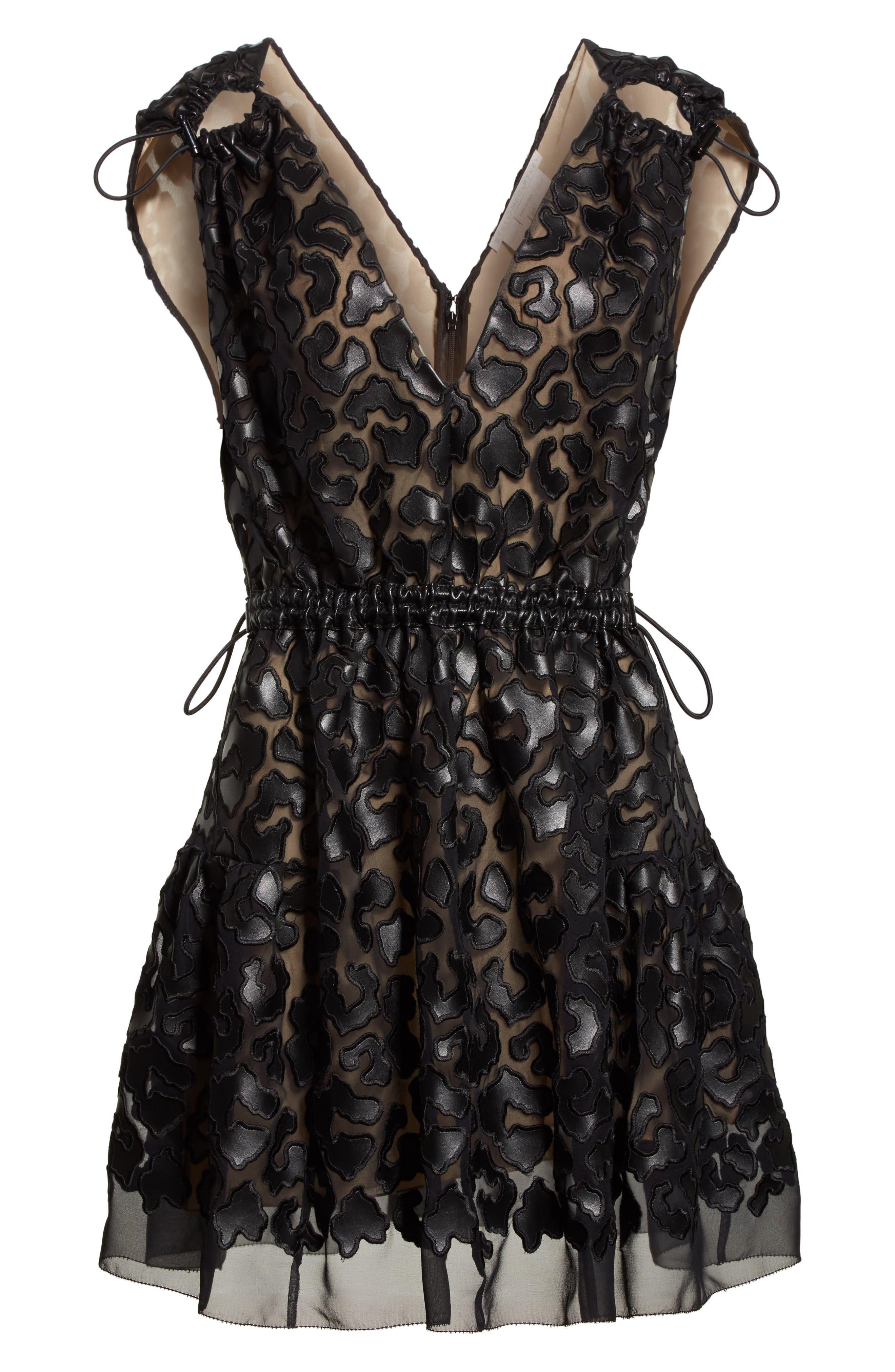 Faux Leather Leopard Print Dress,                             Alternate thumbnail 7, color,                             Black