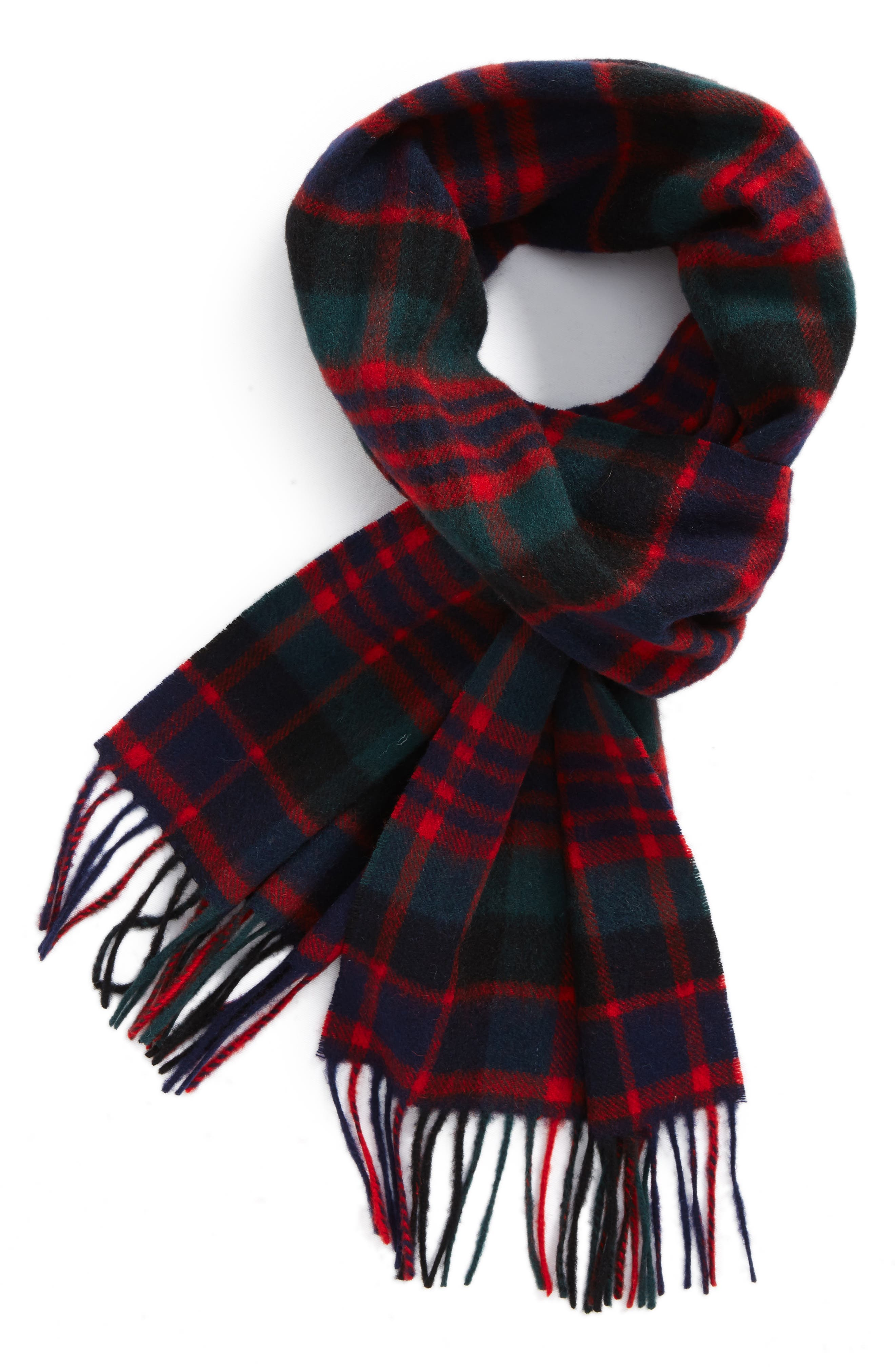 New Check Lambswool & Cashmere Scarf,                         Main,                         color, Macdonald